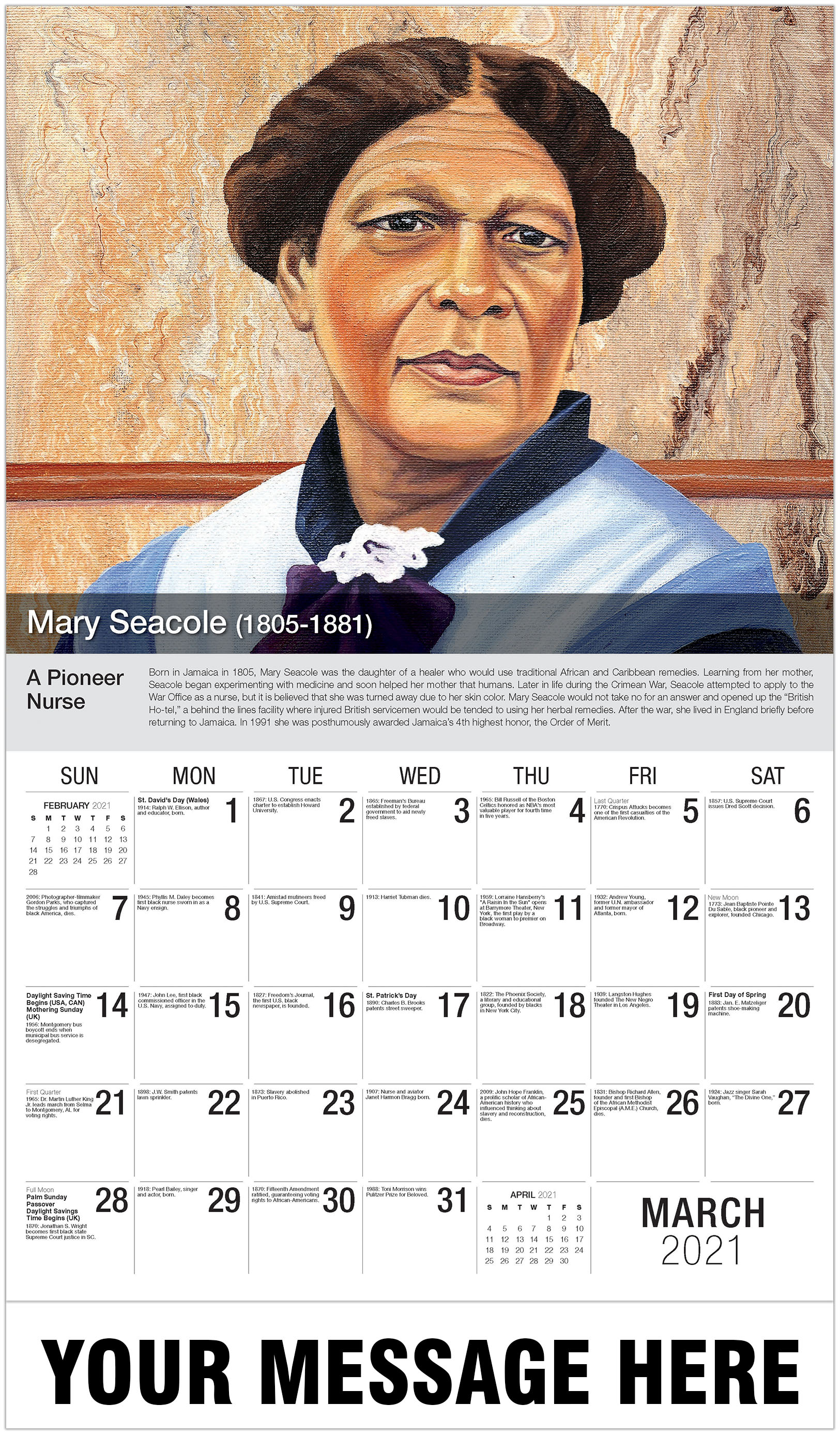 Mary Seacole - March - Black History 2021 Promotional Calendar