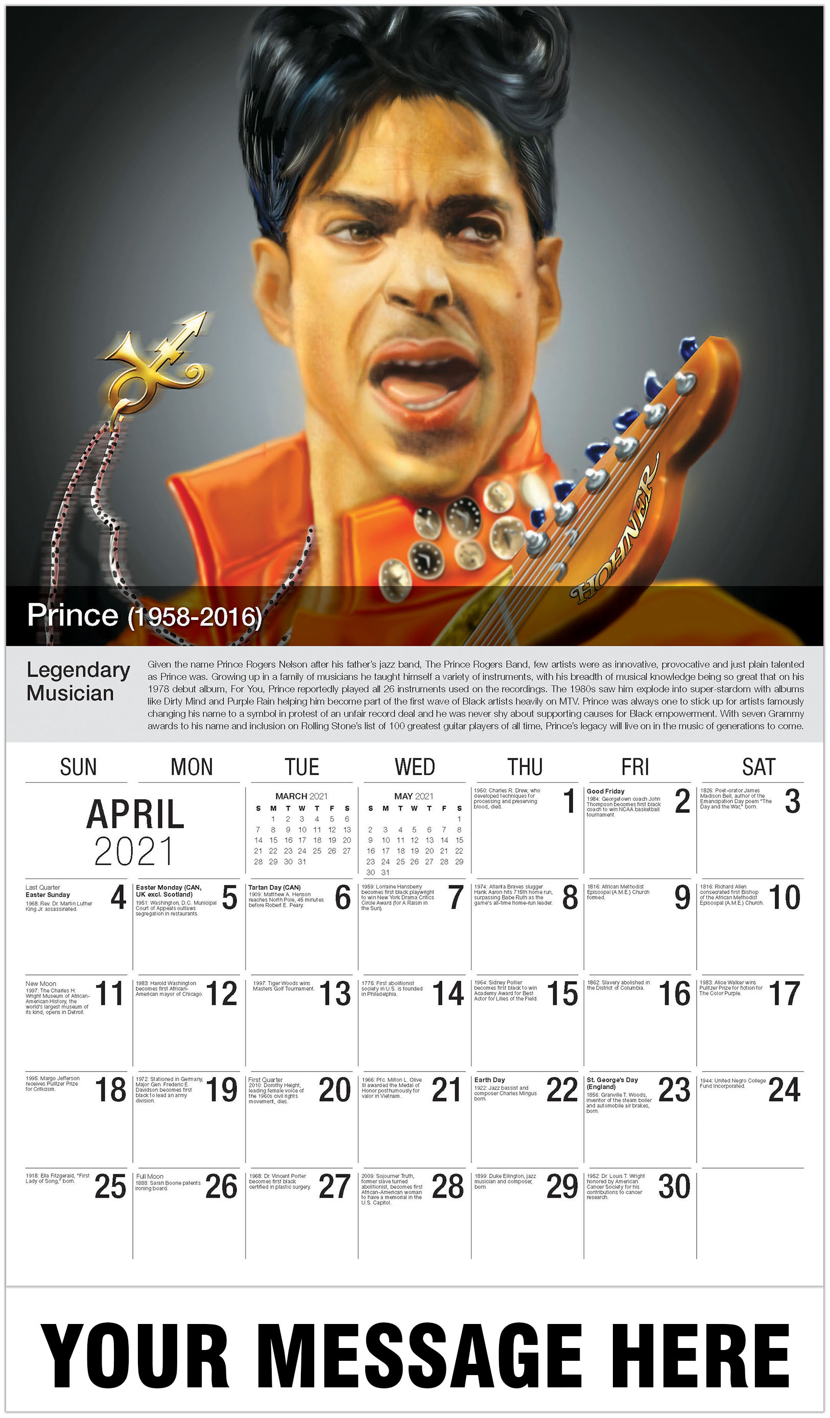 Prince - April - Black History 2021 Promotional Calendar