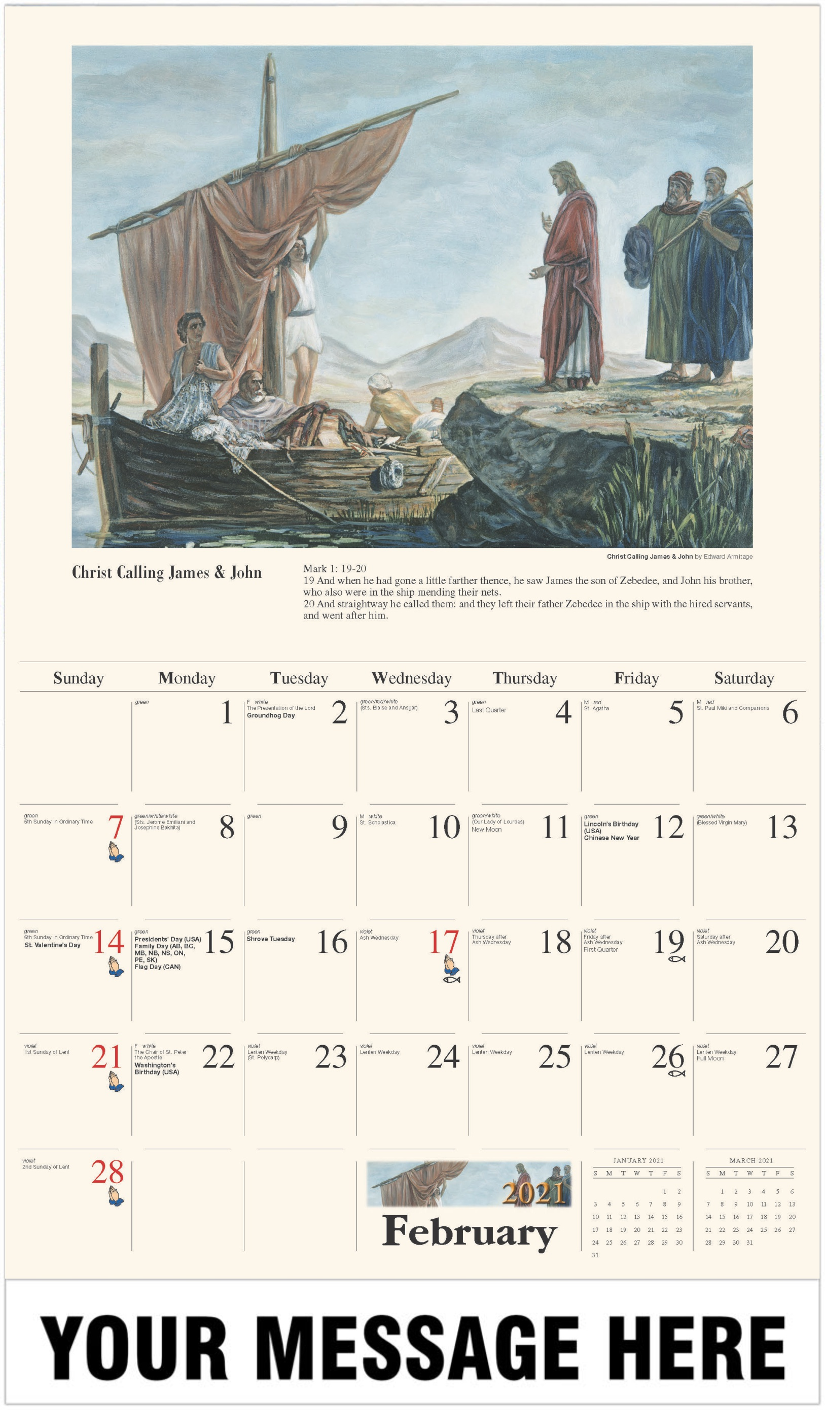 Christ Calling James & John - February - Catholic Inspiration 2021 Promotional Calendar