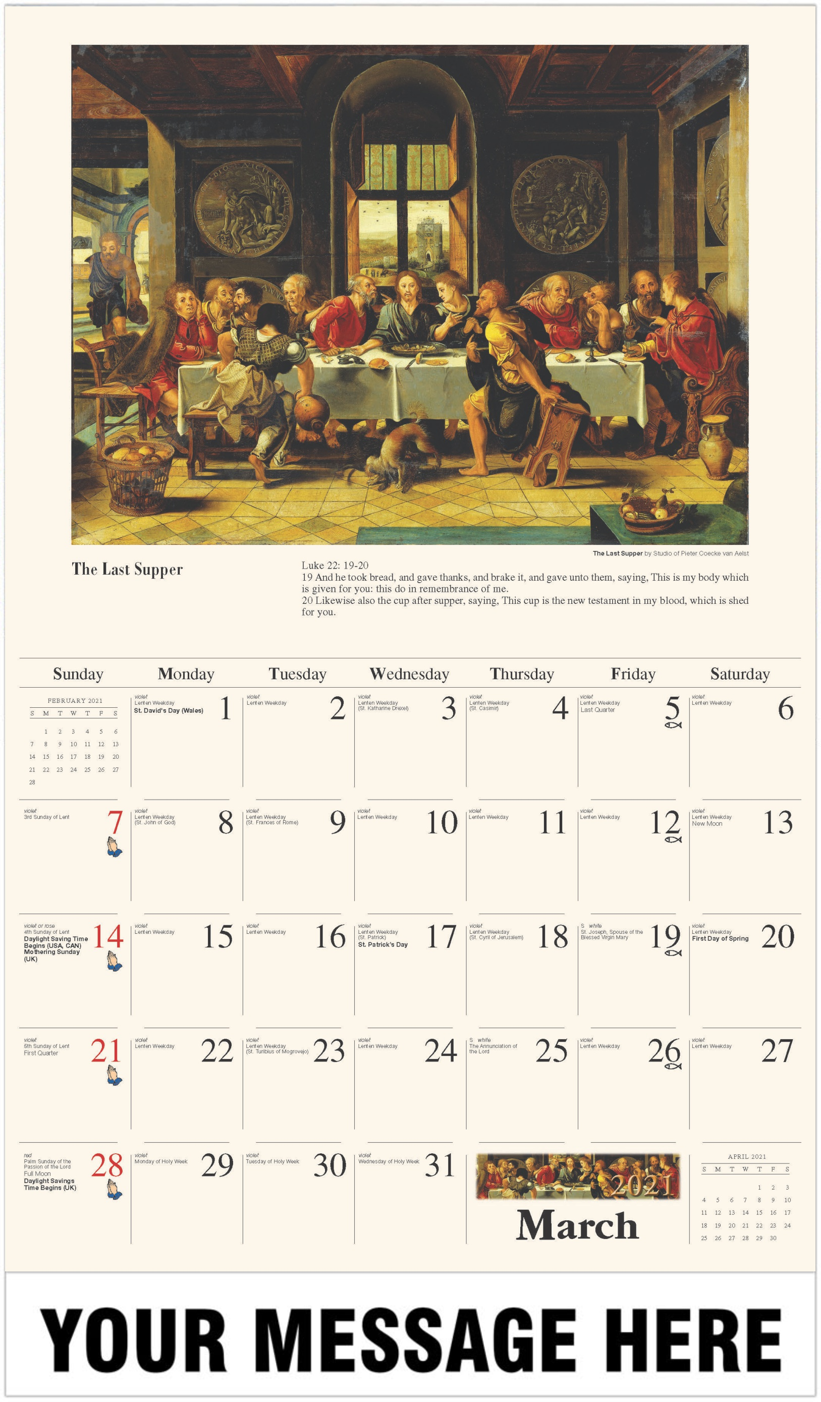 The Last Supper - March - Catholic Inspiration 2021 Promotional Calendar