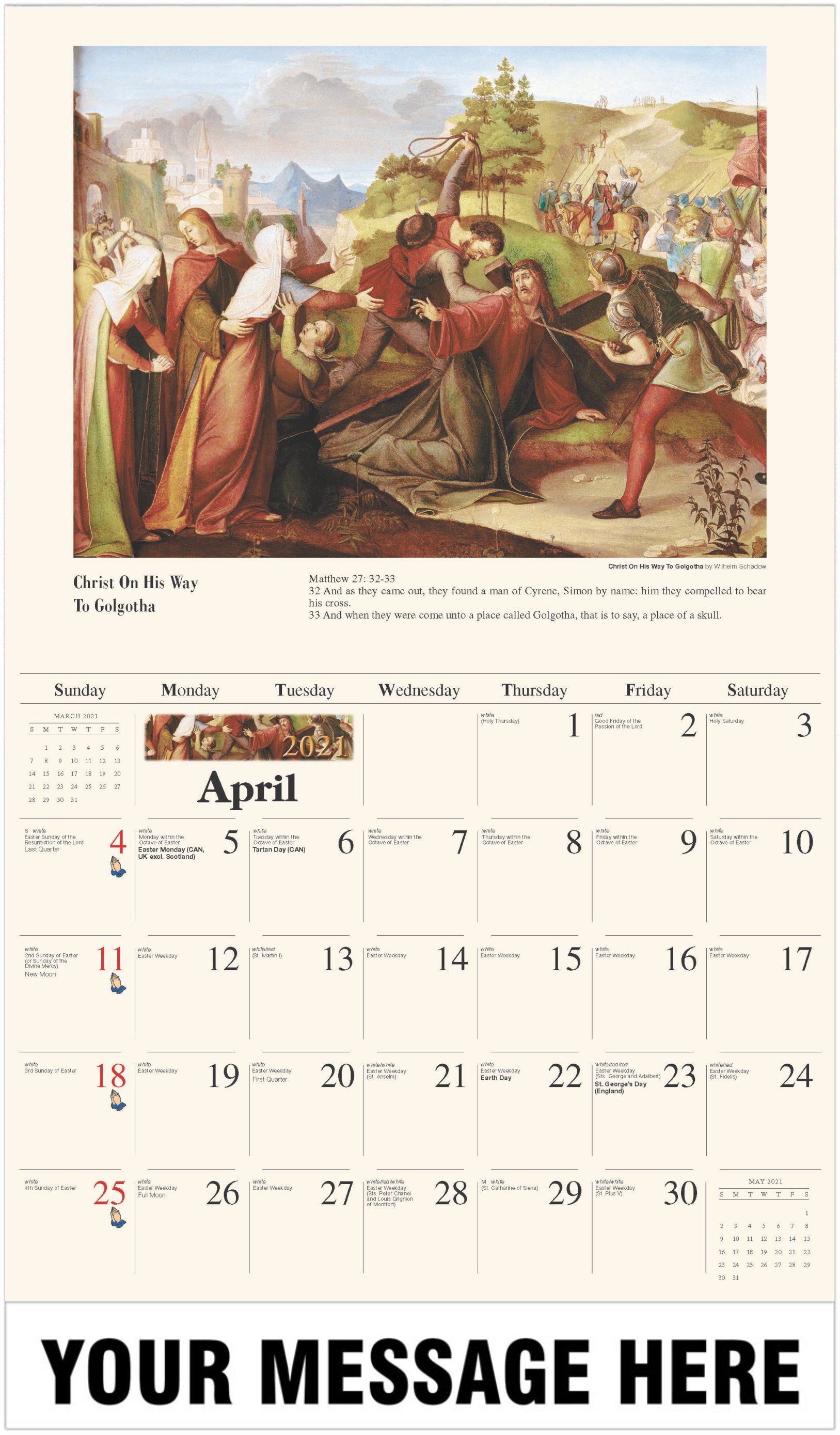 Christ On His Way to Golgotha - April - Catholic Inspiration 2021 Promotional Calendar