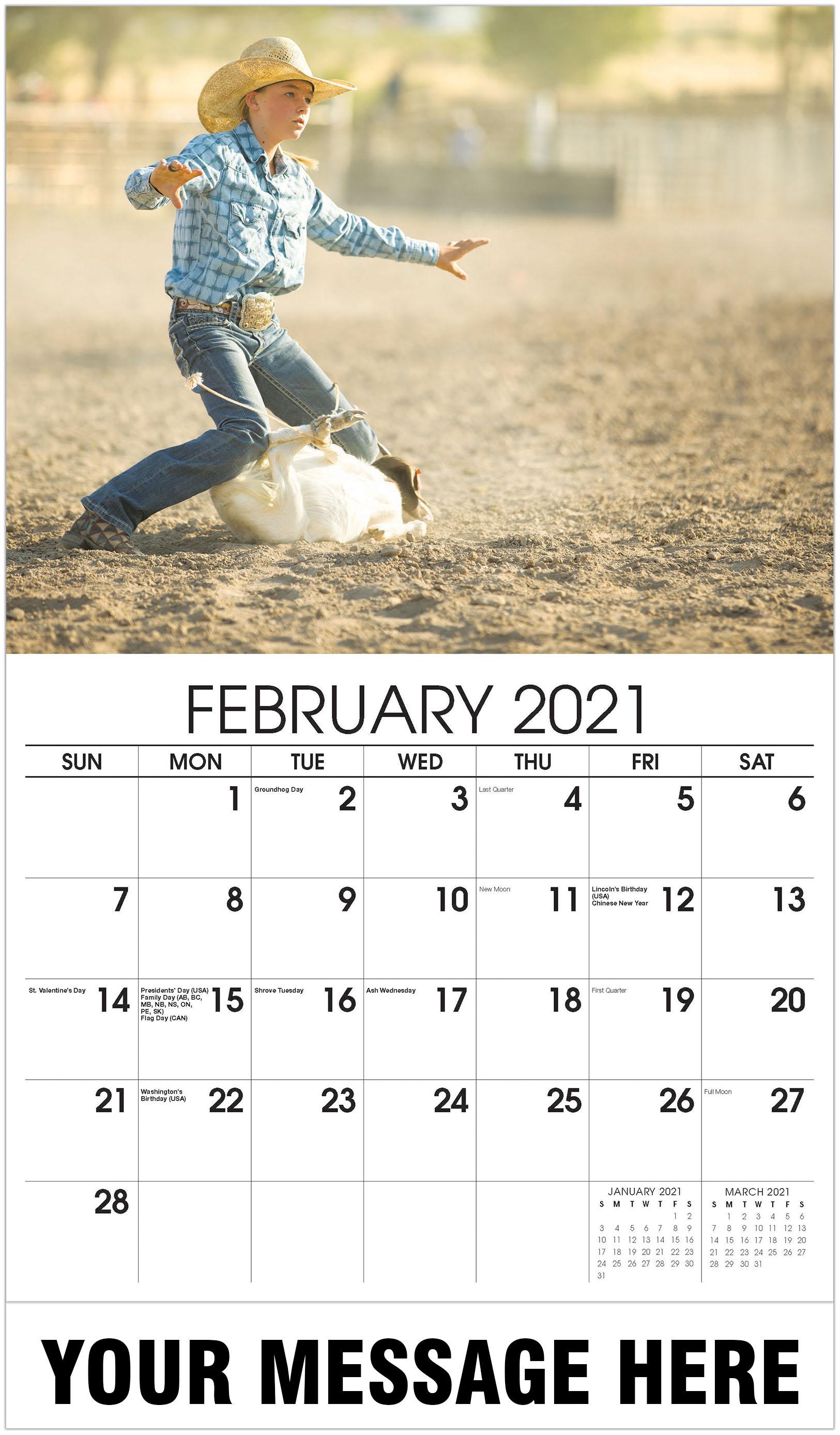 Girl calf roping - February - Country Spirit 2021 Promotional Calendar