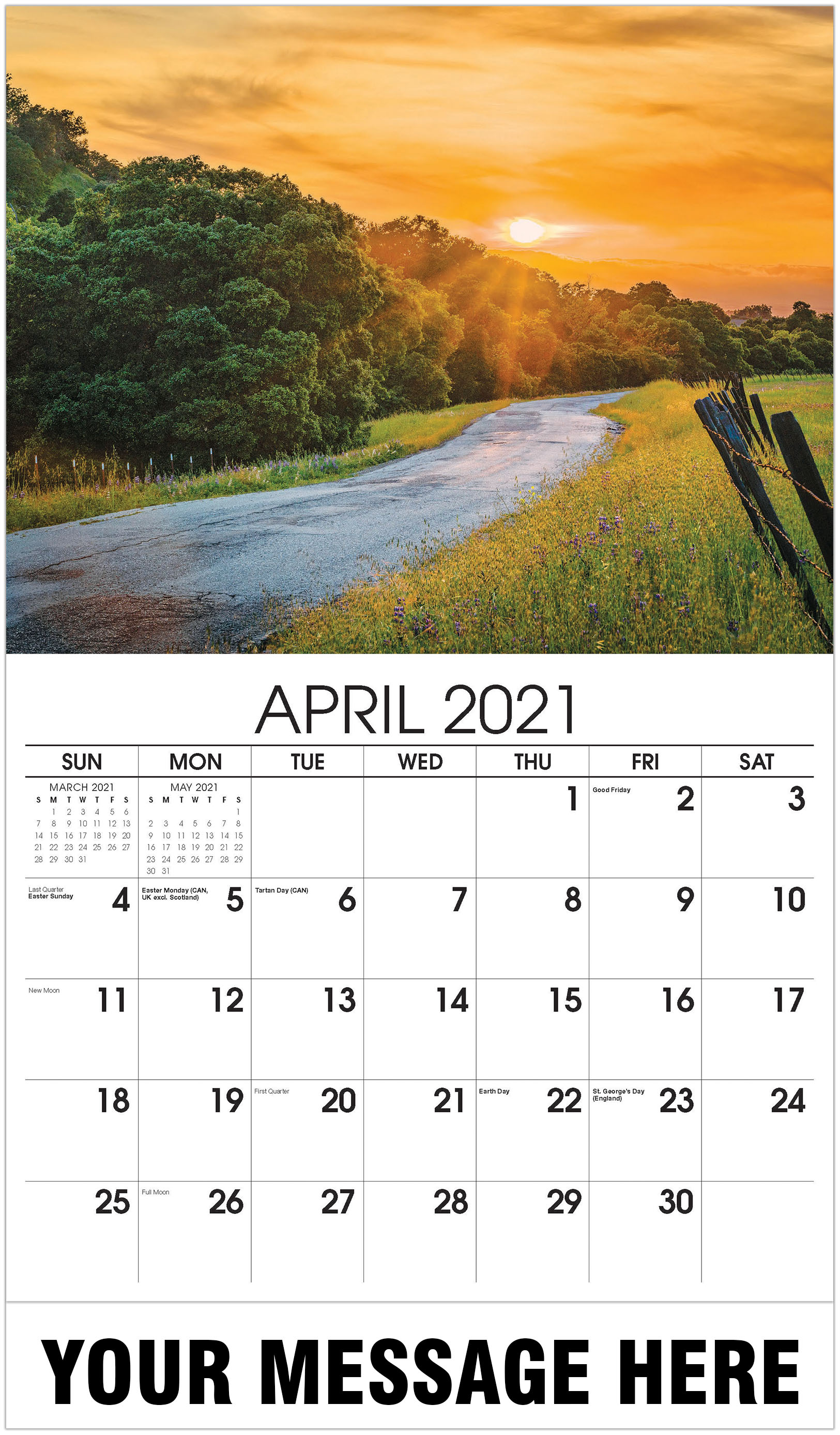 Sunset country road - April - Country Spirit 2021 Promotional Calendar