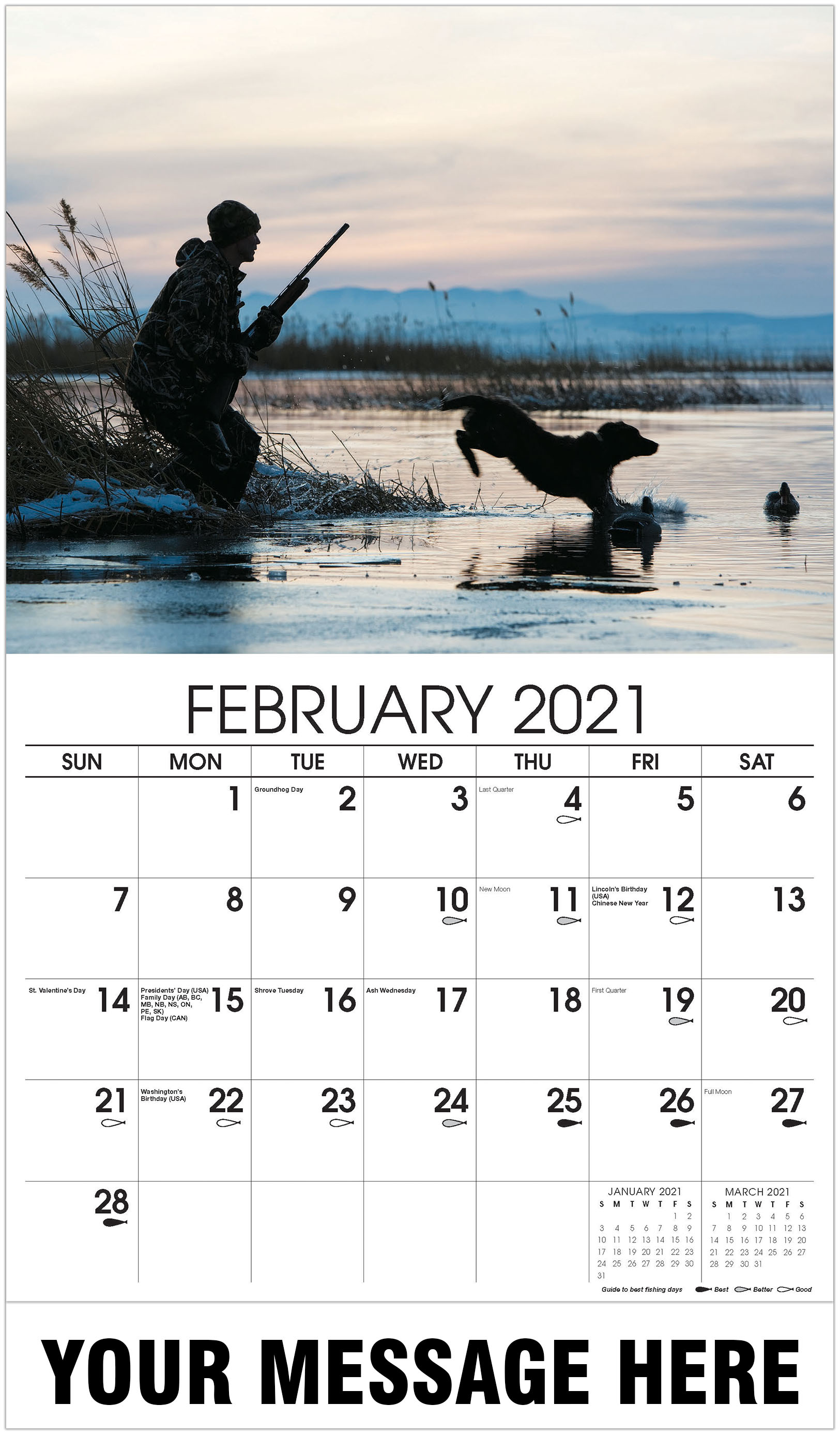 Man out hunting - February - Fishing & Hunting 2021 Promotional Calendar
