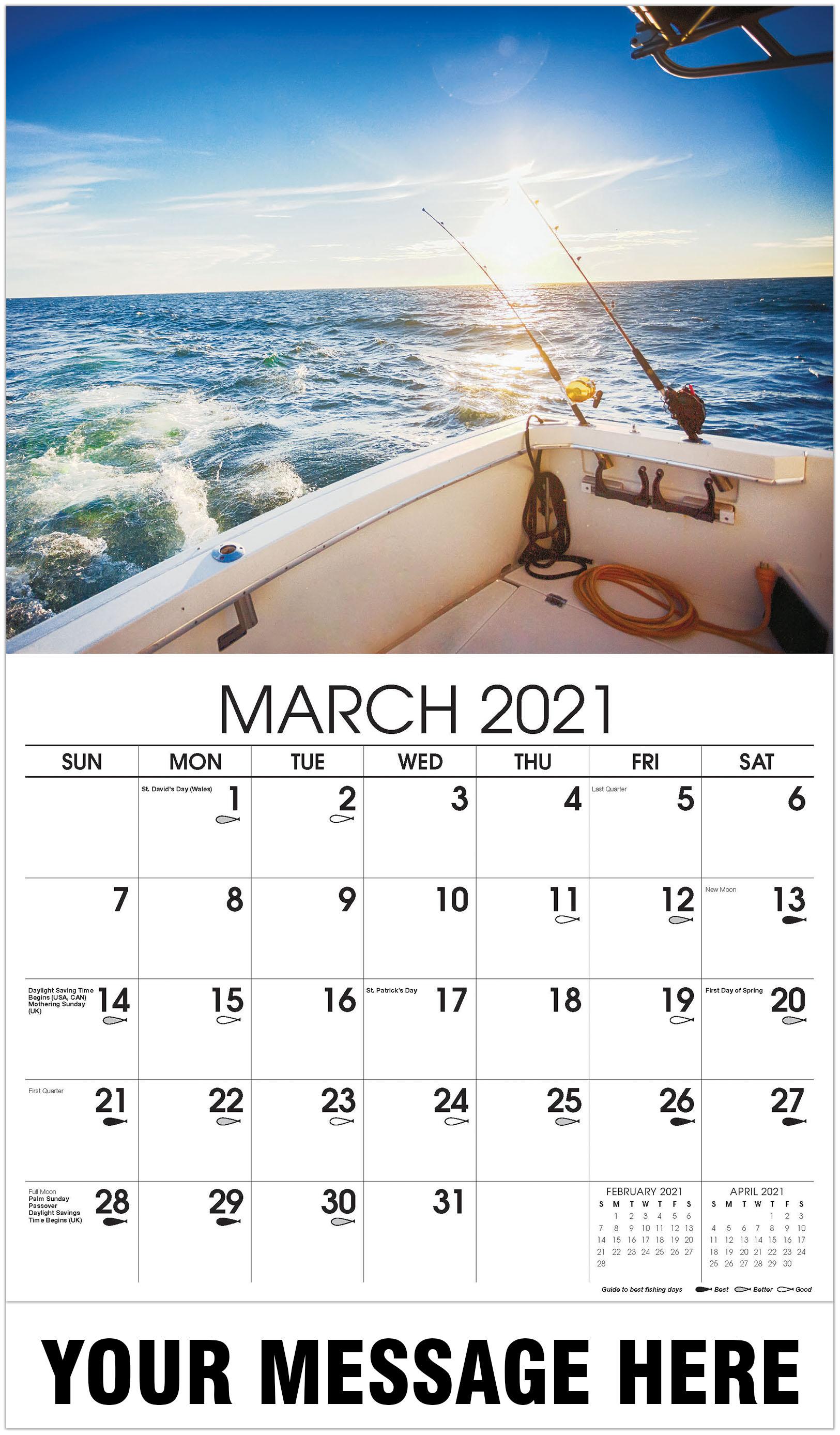 Fishing Reel - March - Fishing & Hunting 2021 Promotional Calendar