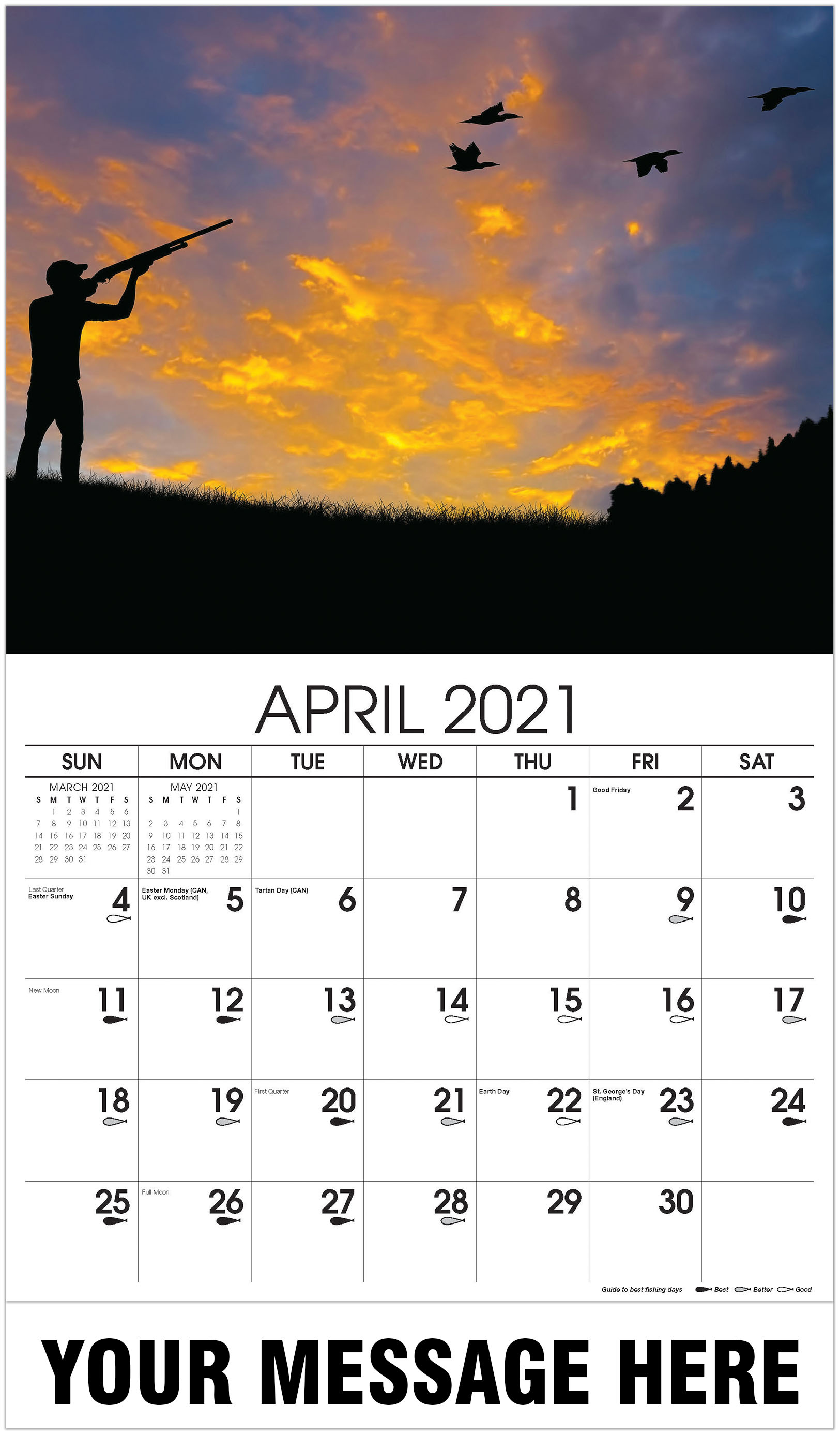 Bird Hunting Silhouette - April - Fishing & Hunting 2021 Promotional Calendar