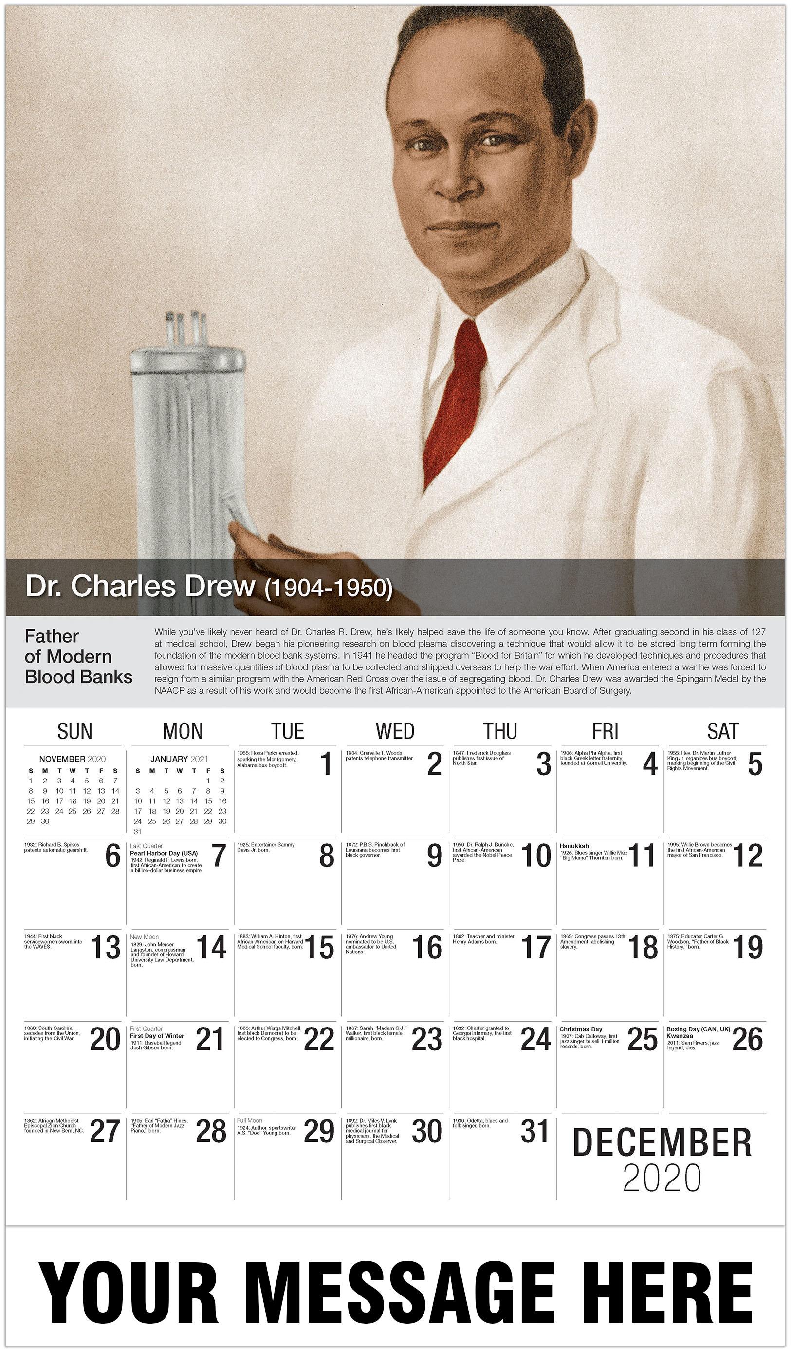 Charles Drew - December 2020 - Black History 2021 Promotional Calendar