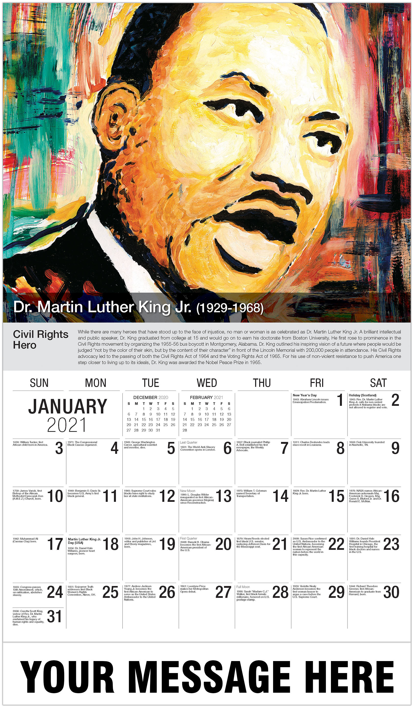 Martin Luther King Jr - January - Black History 2021 Promotional Calendar