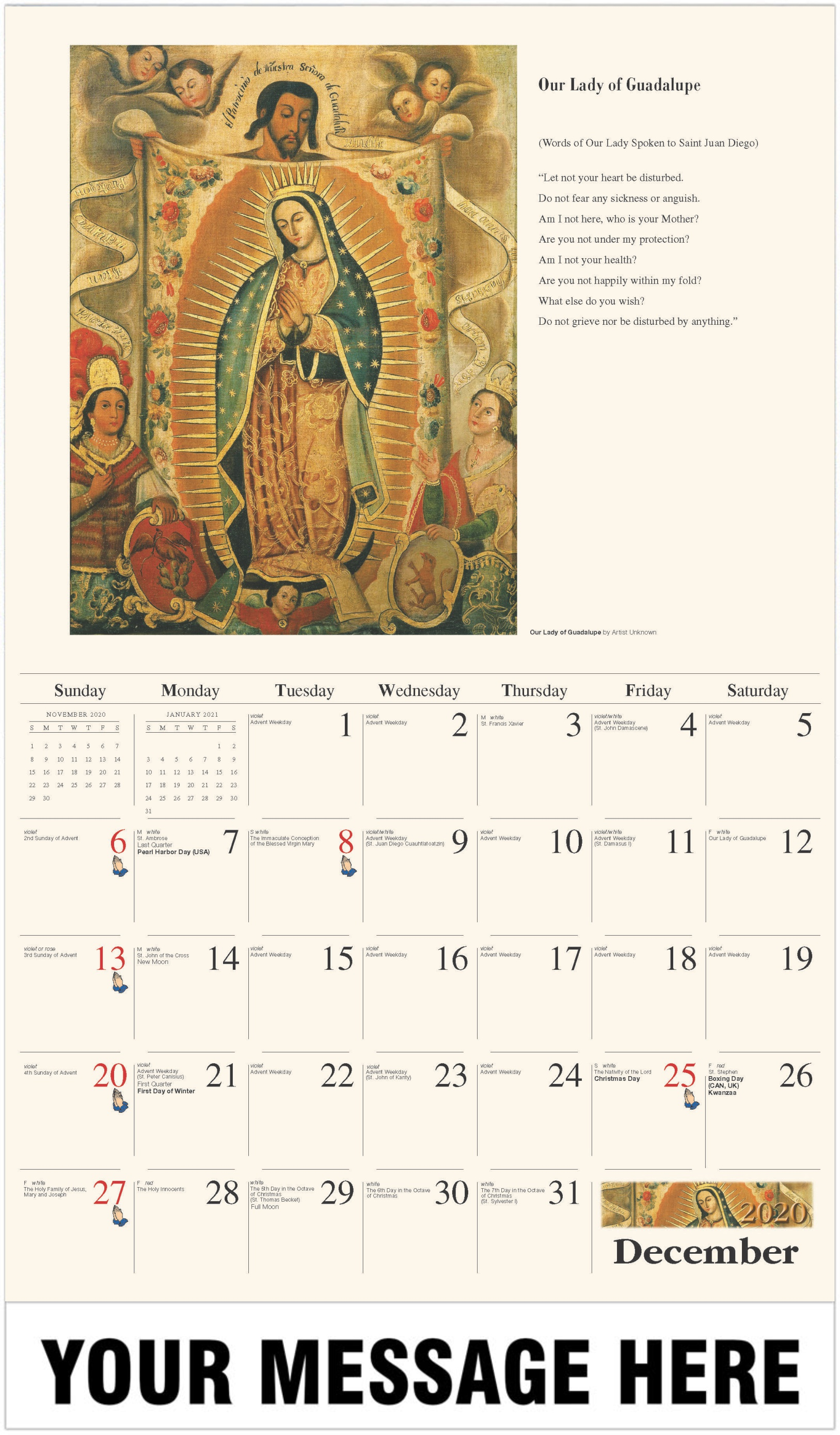 Our Lady of Guadalupe by Artist Unknown - December 2020 - Catholic Inspiration 2021 Promotional Calendar