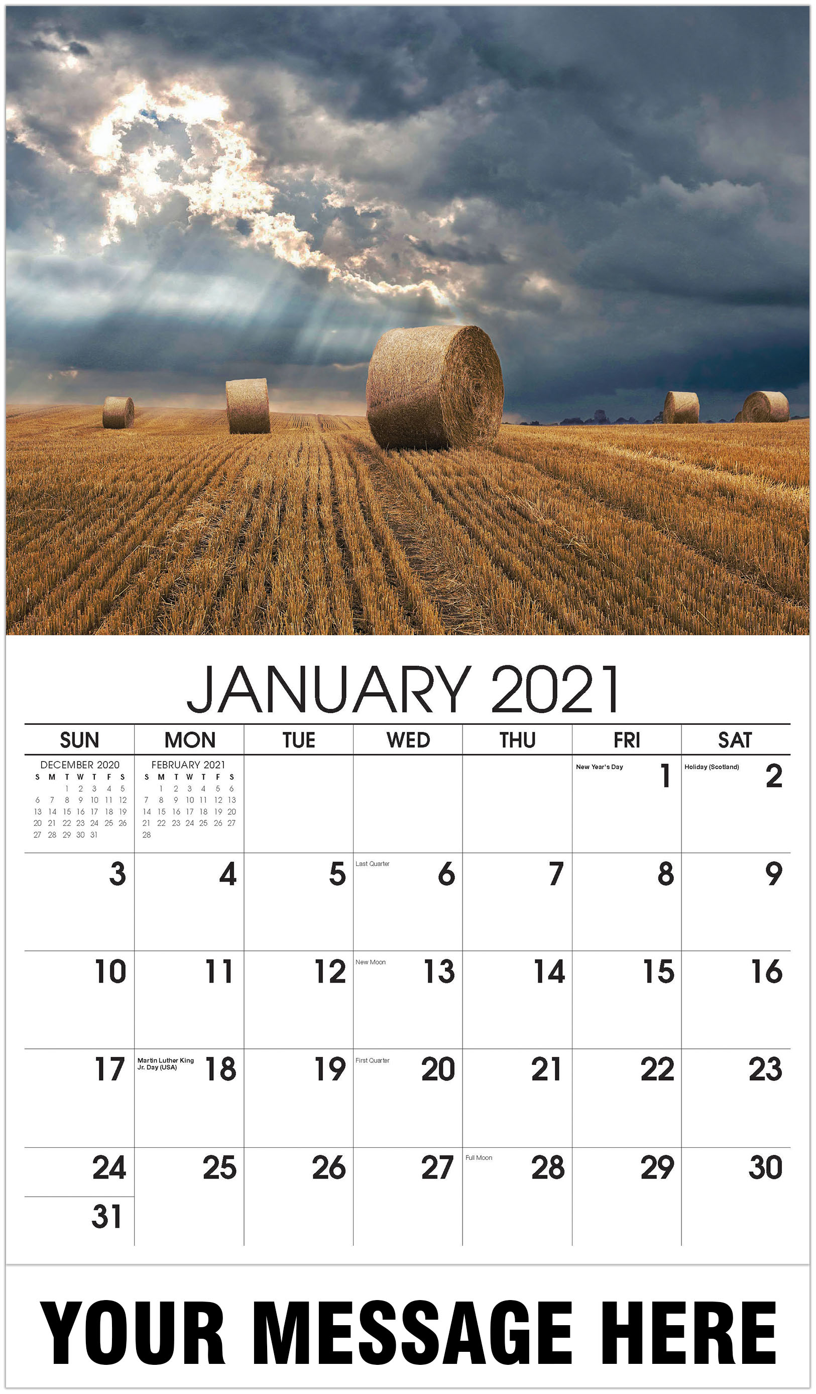 Hay Bales - January - Country Spirit 2021 Promotional Calendar