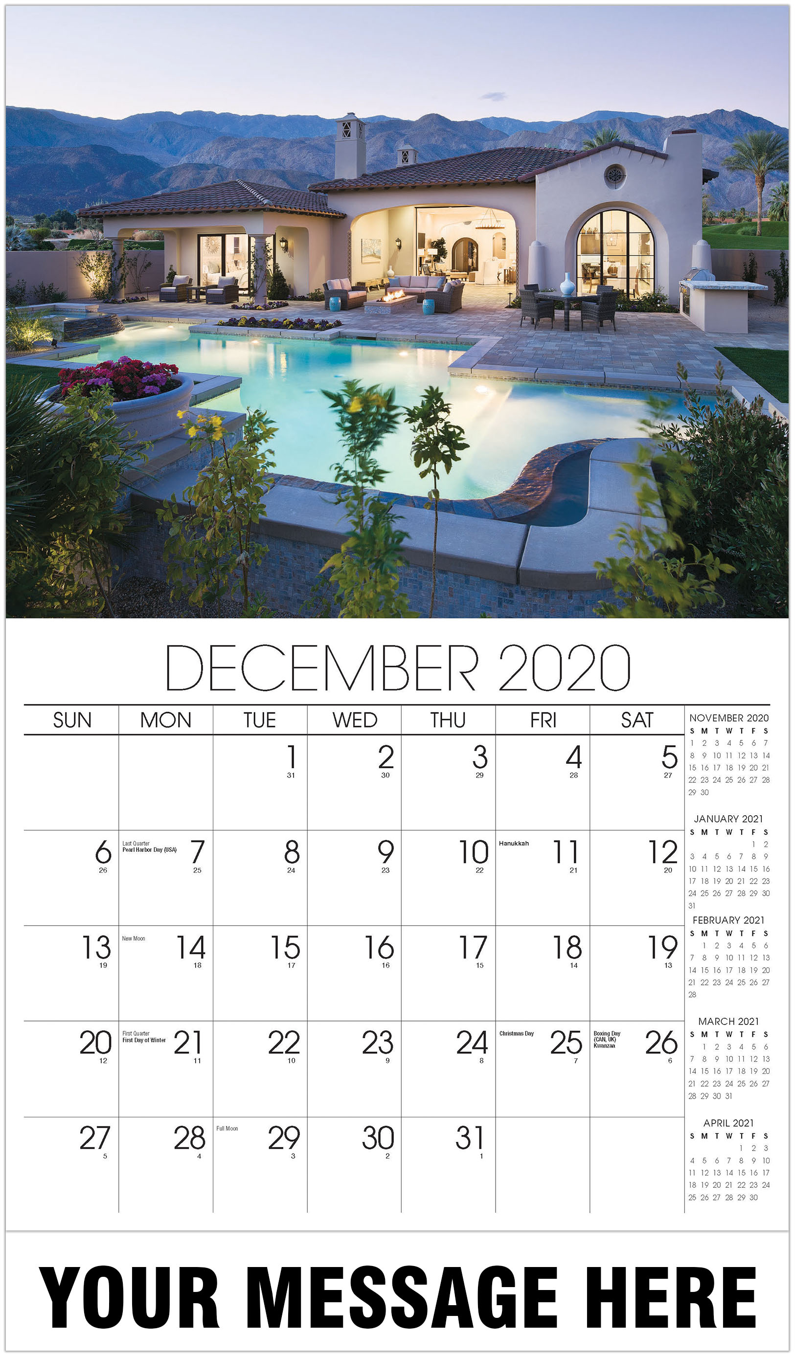 Luxury Homes Calendar - December 2020 - Homes 2021 Promotional Calendar