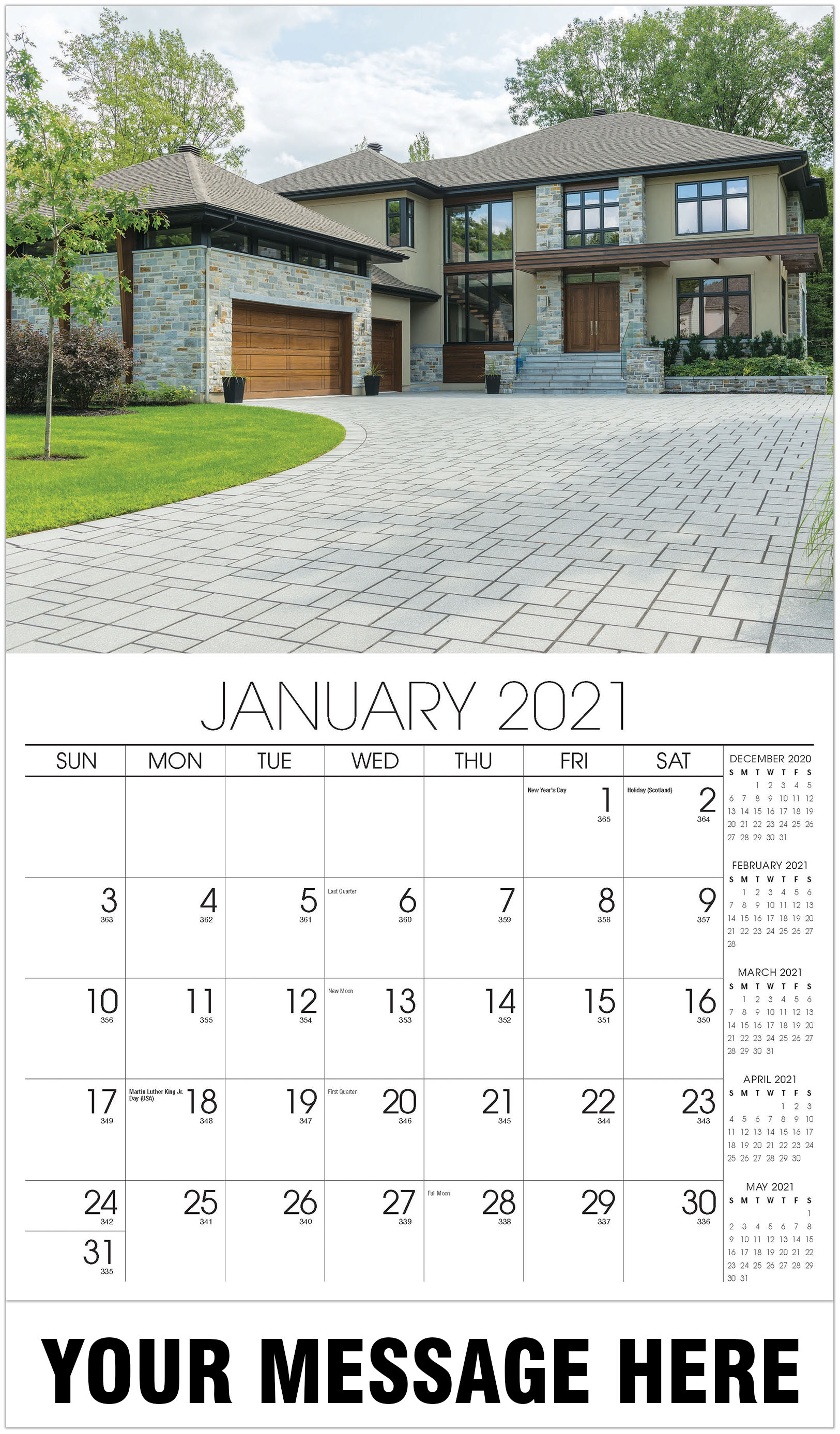 Luxury Homes Calendar - January - Homes 2021 Promotional Calendar