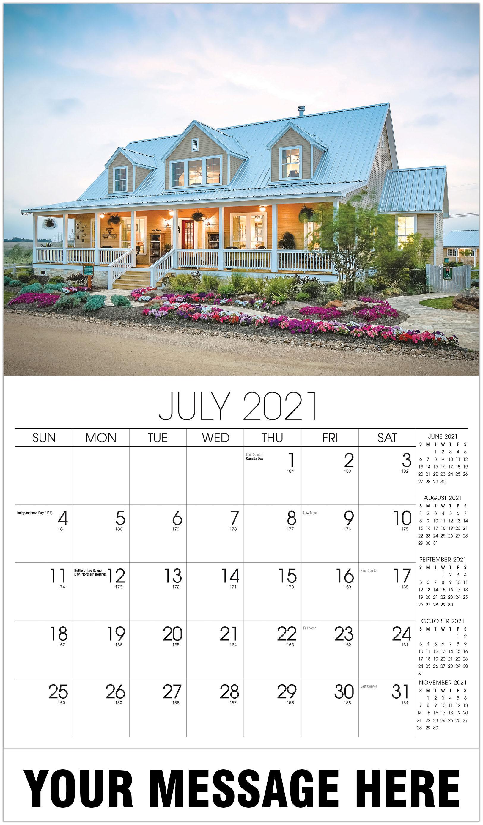 2021 House Calendar 2021 Advertising Calendar | Luxury Custom Home Wall Calendar
