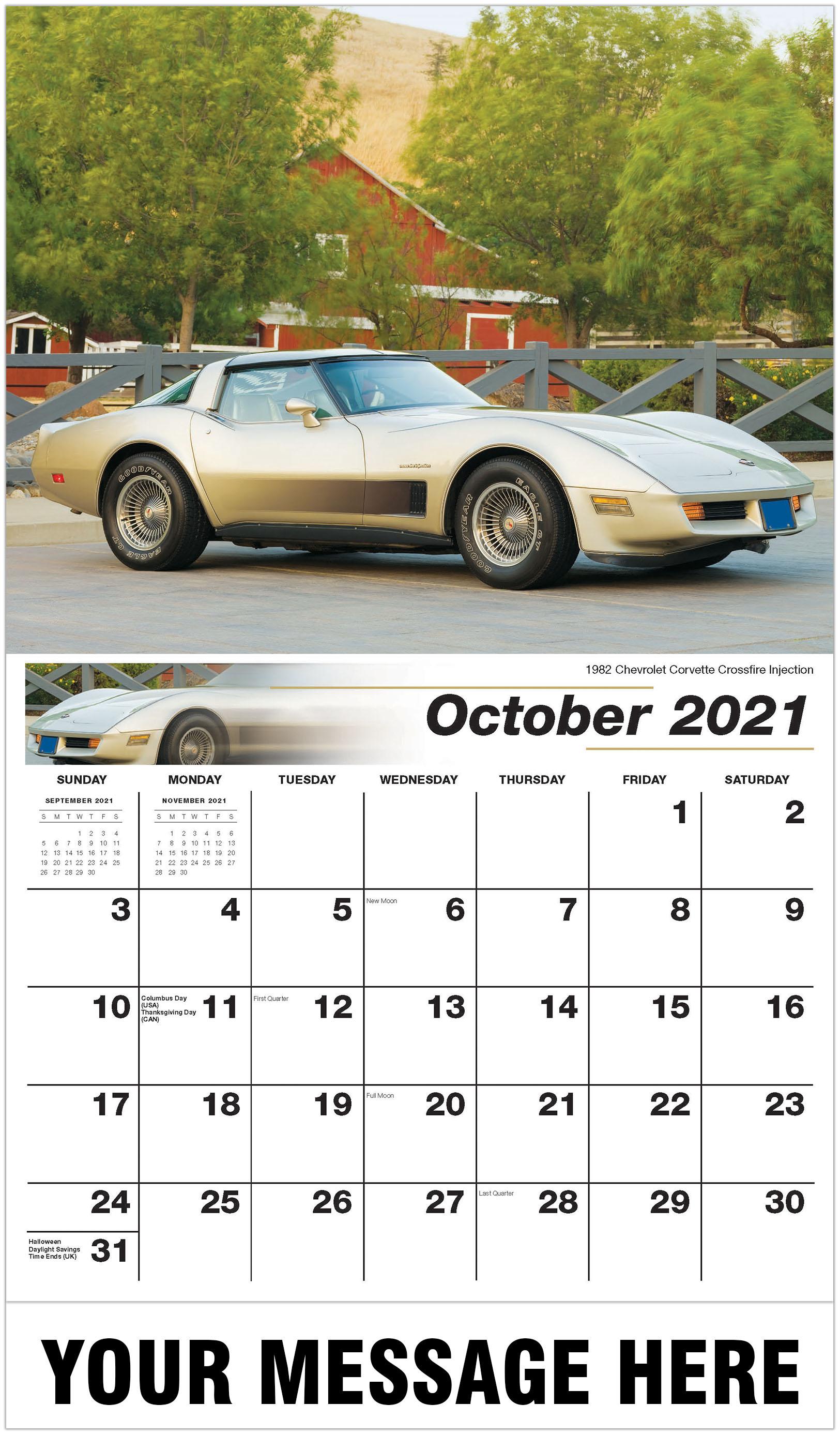 2021 Car Calendar 2021 Promotional Calendar | Classic Car Business Promo Calendars