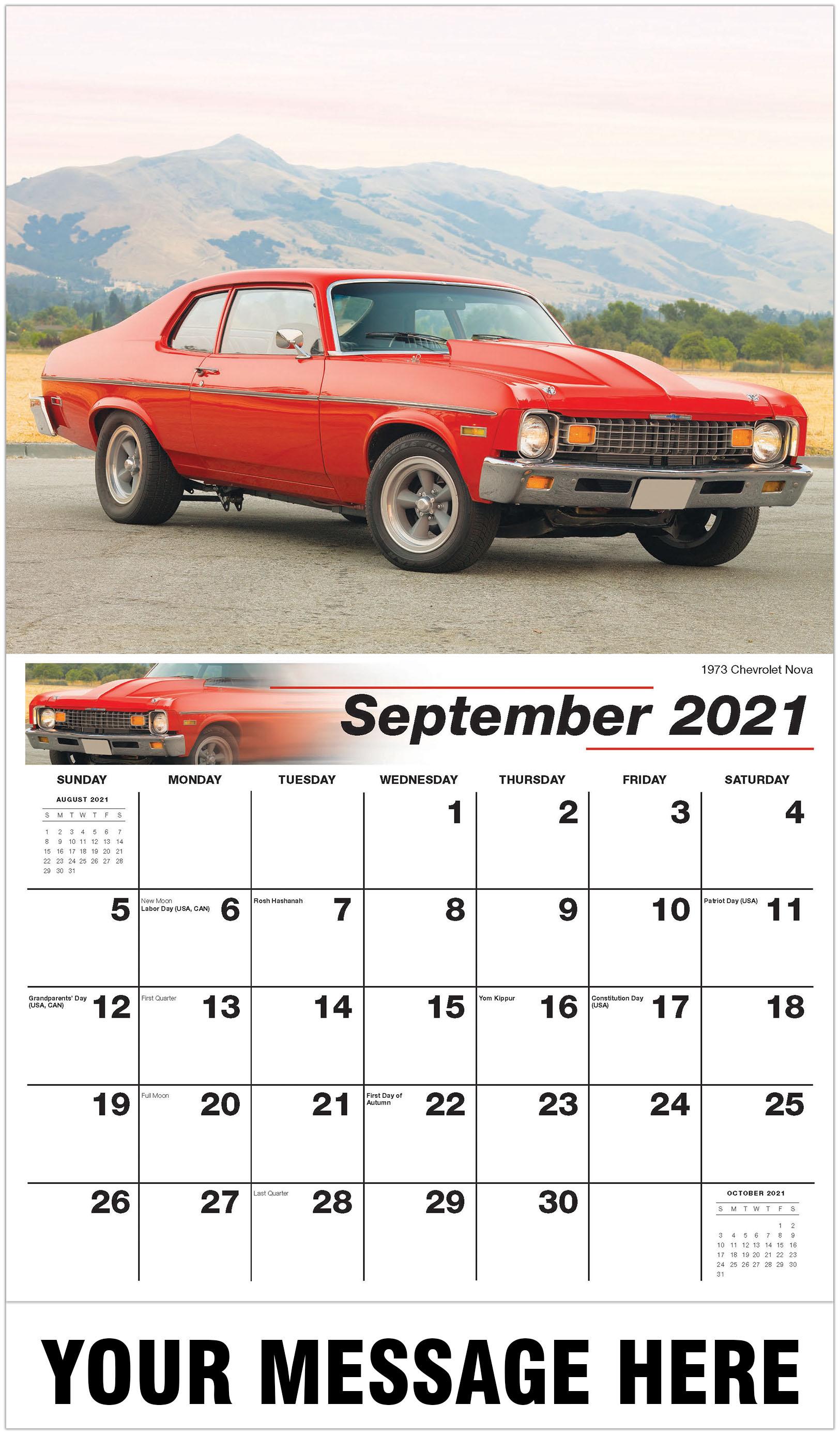Nova Calendar 2021 GM Classic Cars Calendar | 2021 Promotional Calendar | Vintage Car