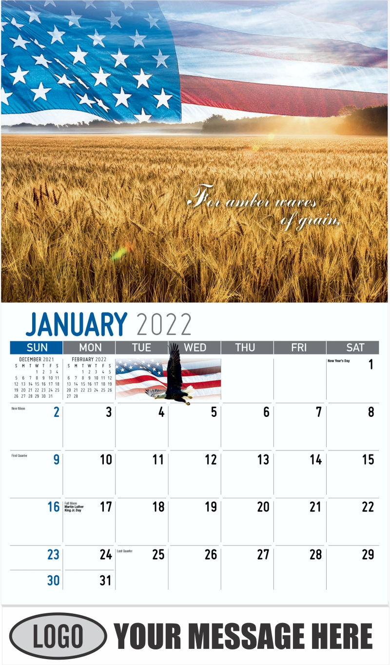 """""""For amber waves of grain"""" - January - America the Beautiful 2022 Promotional Calendar"""