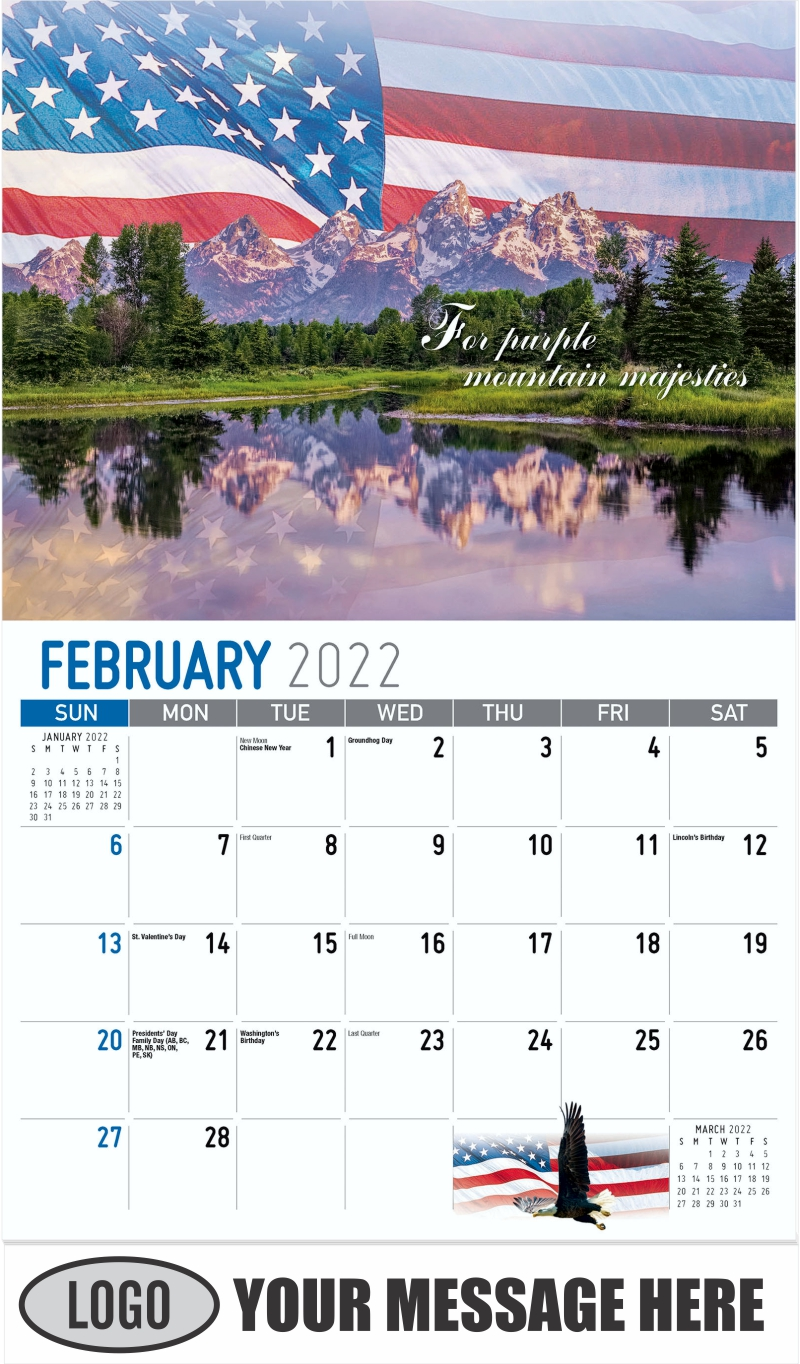 """For purple mountain majesties"" - February - America the Beautiful 2022 Promotional Calendar"