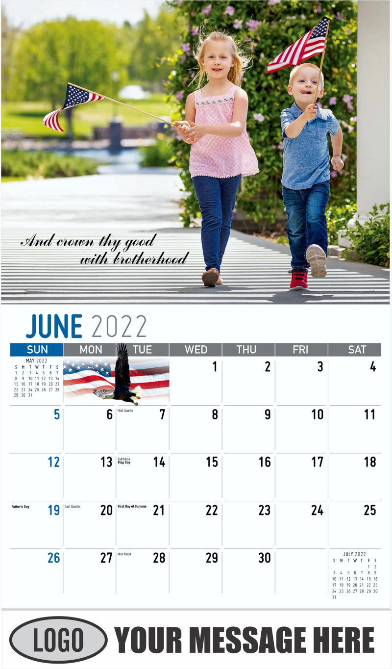 """""""And crowded thy good with brotherhood"""" - June - America the Beautiful 2022 Promotional Calendar"""