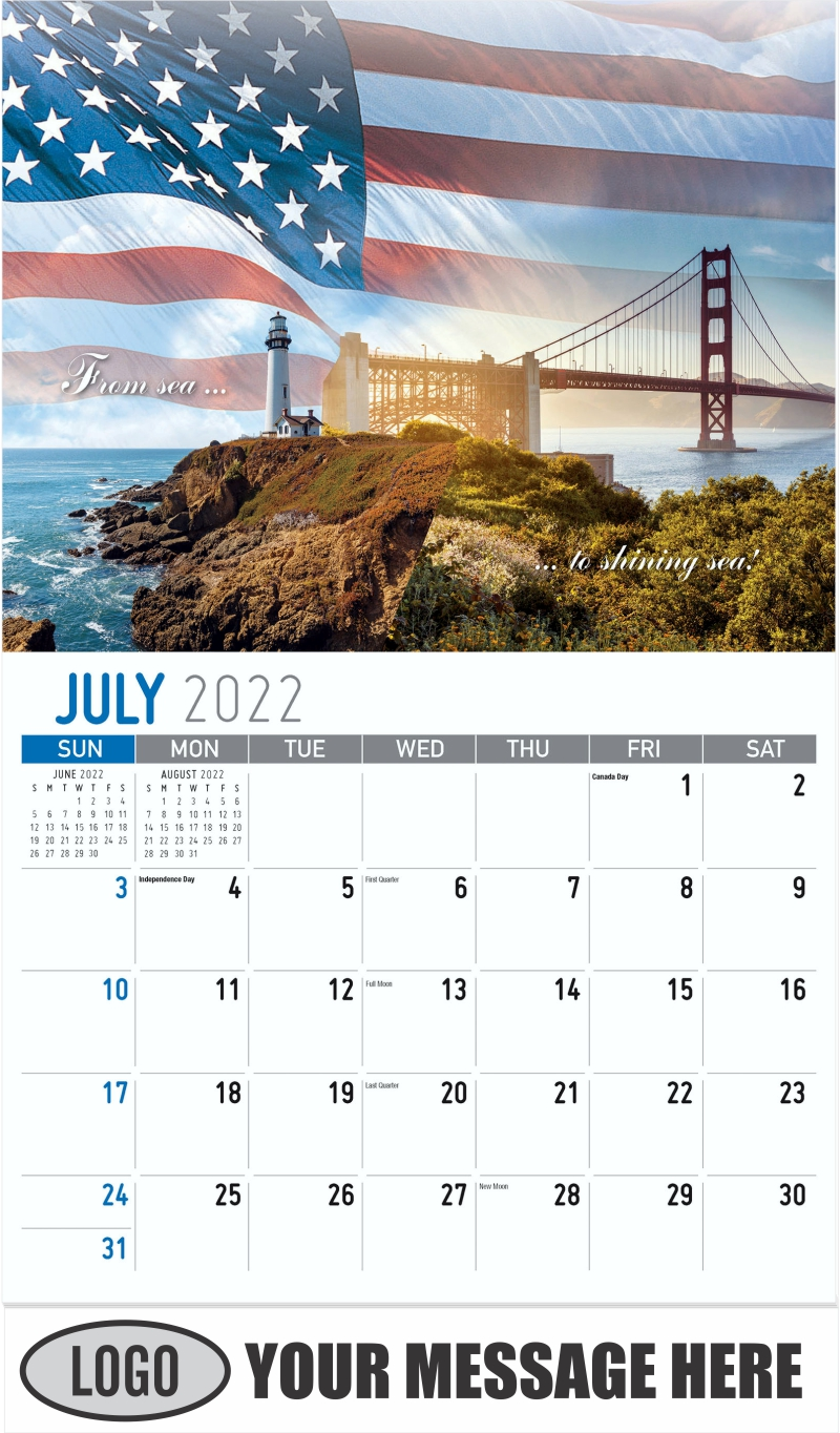 """""""From sea to shining sea"""" - July - America the Beautiful 2022 Promotional Calendar"""