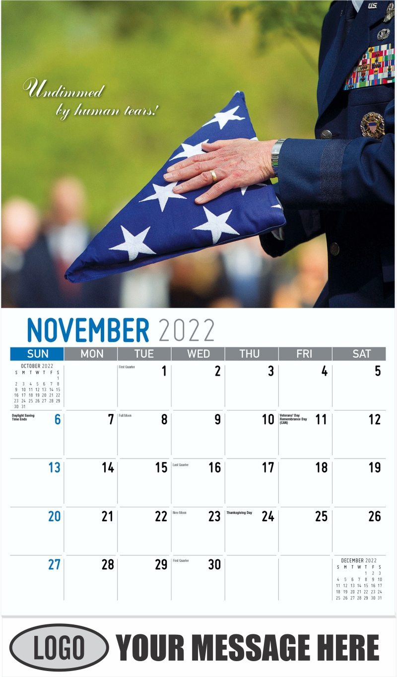 """""""Undimmed by human tears"""" - November - America the Beautiful 2022 Promotional Calendar"""