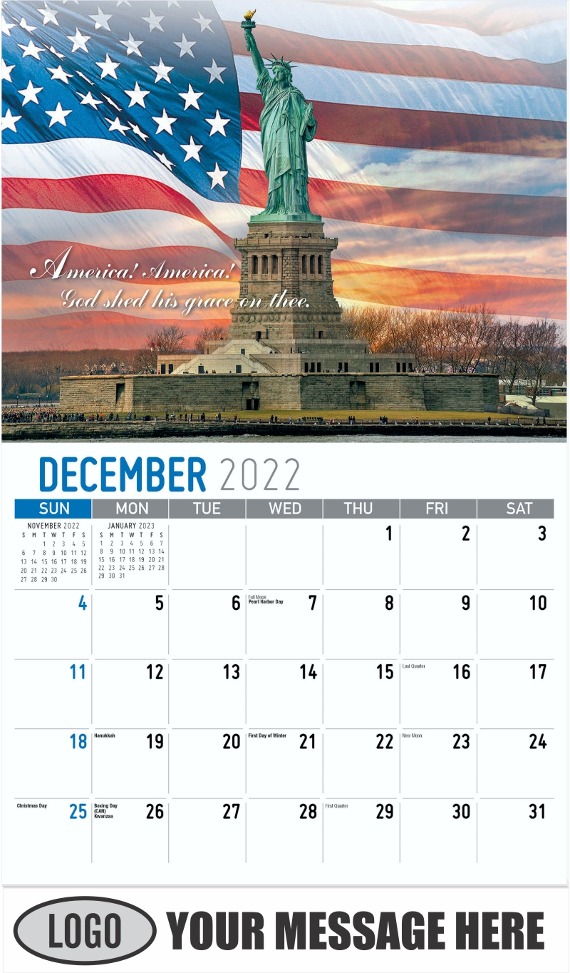 """""""America! America! God shed his grace on thee"""" - December 2022 - America the Beautiful 2022 Promotional Calendar"""