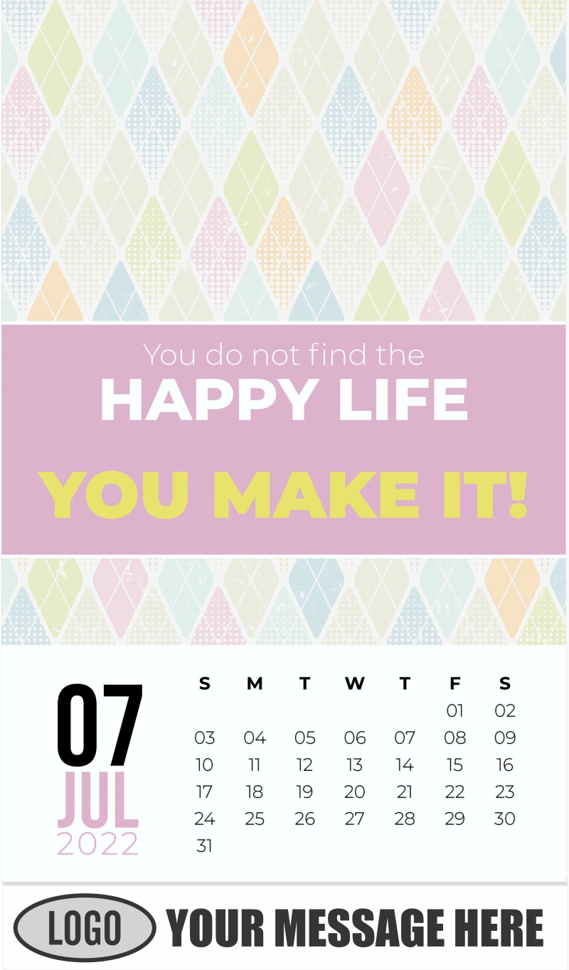 Diamond Pastel Patterns - July - Arts and Thoughts 2022 Promotional Calendar