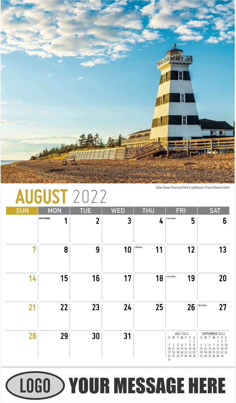 Cedar Dunes Provincial Park's Lighthouse, Prince Edward Island - August - Atlantic Canada 2022 Promotional Calendar
