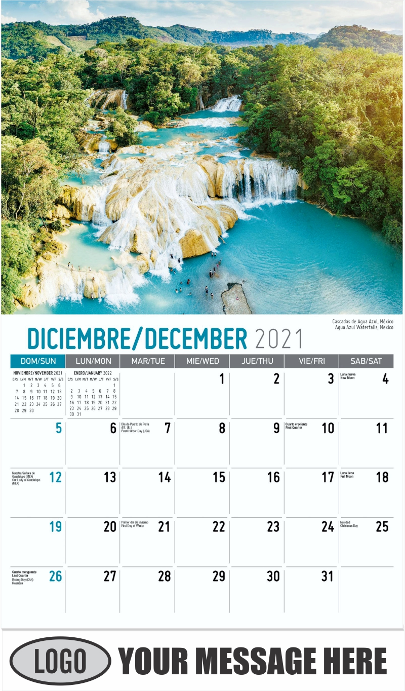 Agua Azul Waterfalls, Mexico Cascadas de Agua Azul, México - December 2021 - Beauty of Latin America 2022 Promotional Calendar