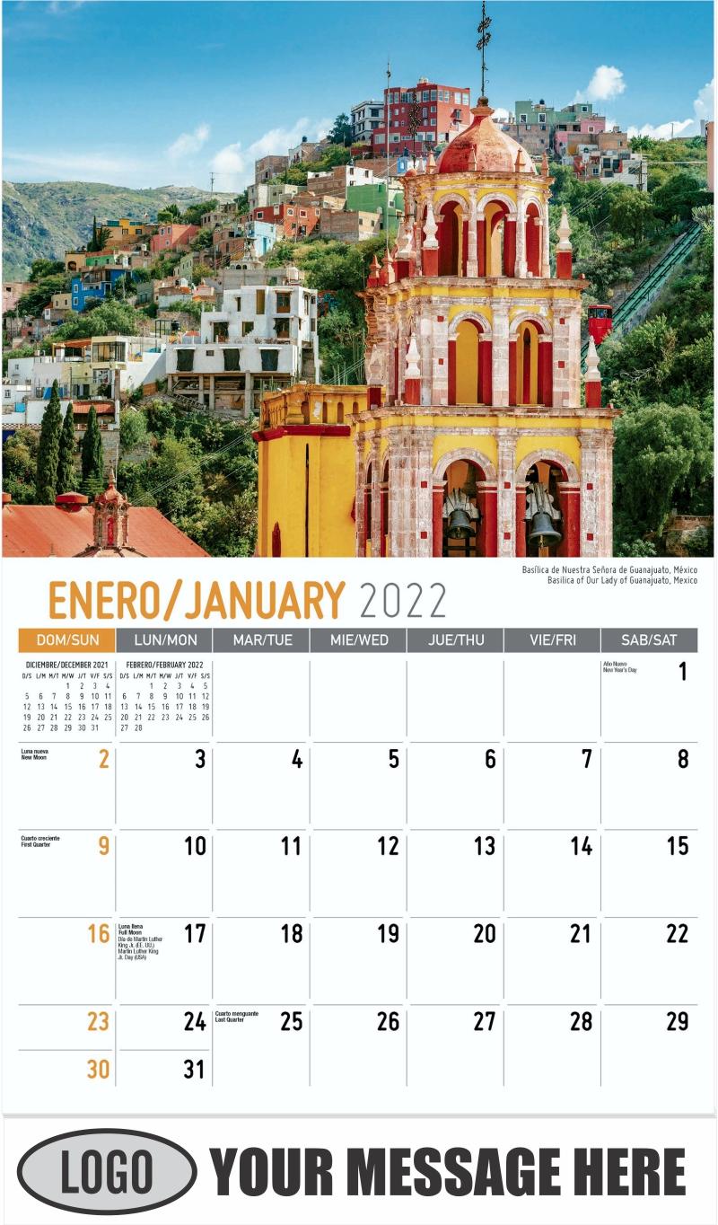 Basilica of Our Lady of Guanajuato, Mexico Basílica de Nuestra Señora de Guanajuato, México - January - Beauty of Latin America 2022 Promotional Calendar