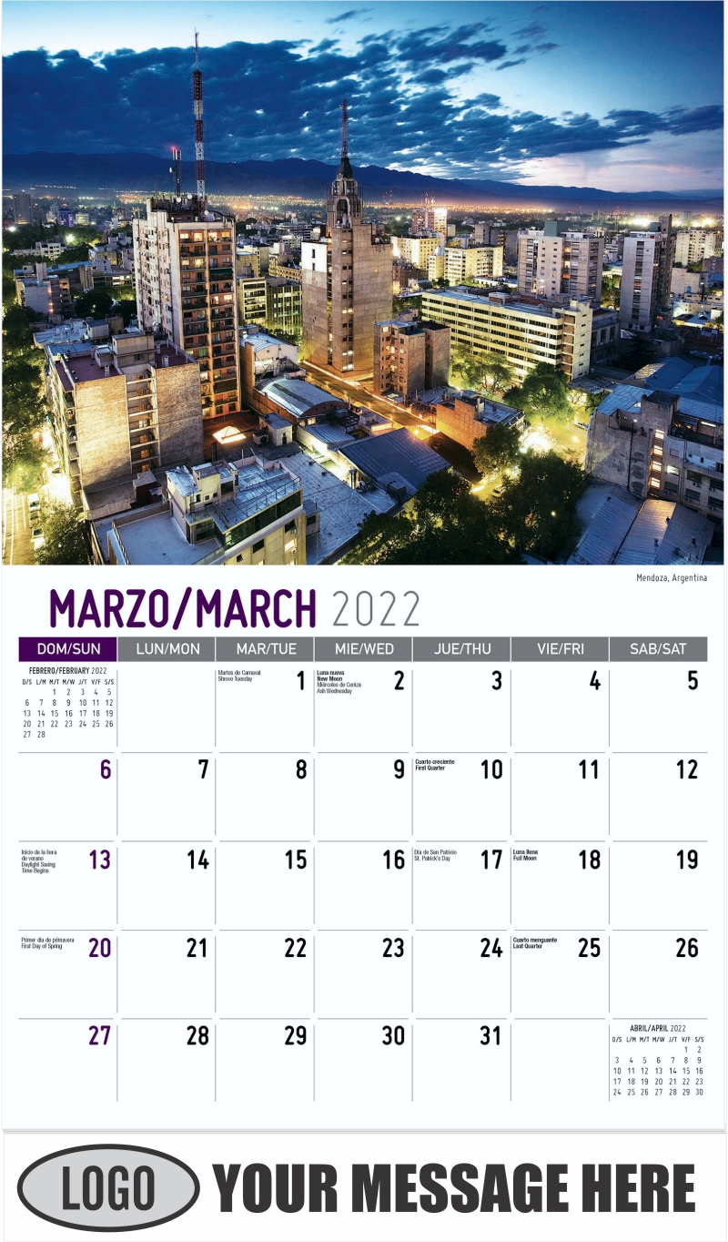 Mendoza, Argentina - March - Beauty of Latin America 2022 Promotional Calendar