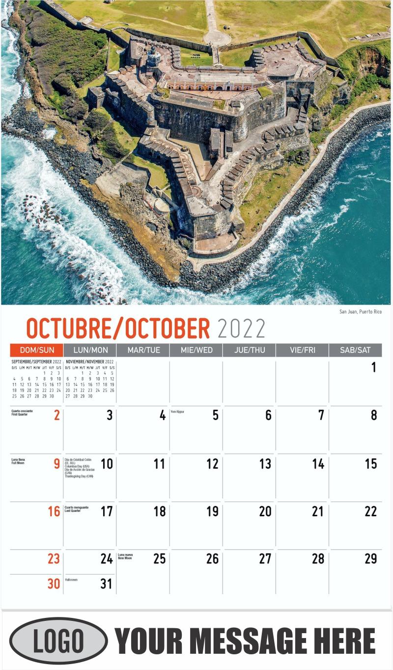 San Juan, Puerto Rico - October - Beauty of Latin America 2022 Promotional Calendar