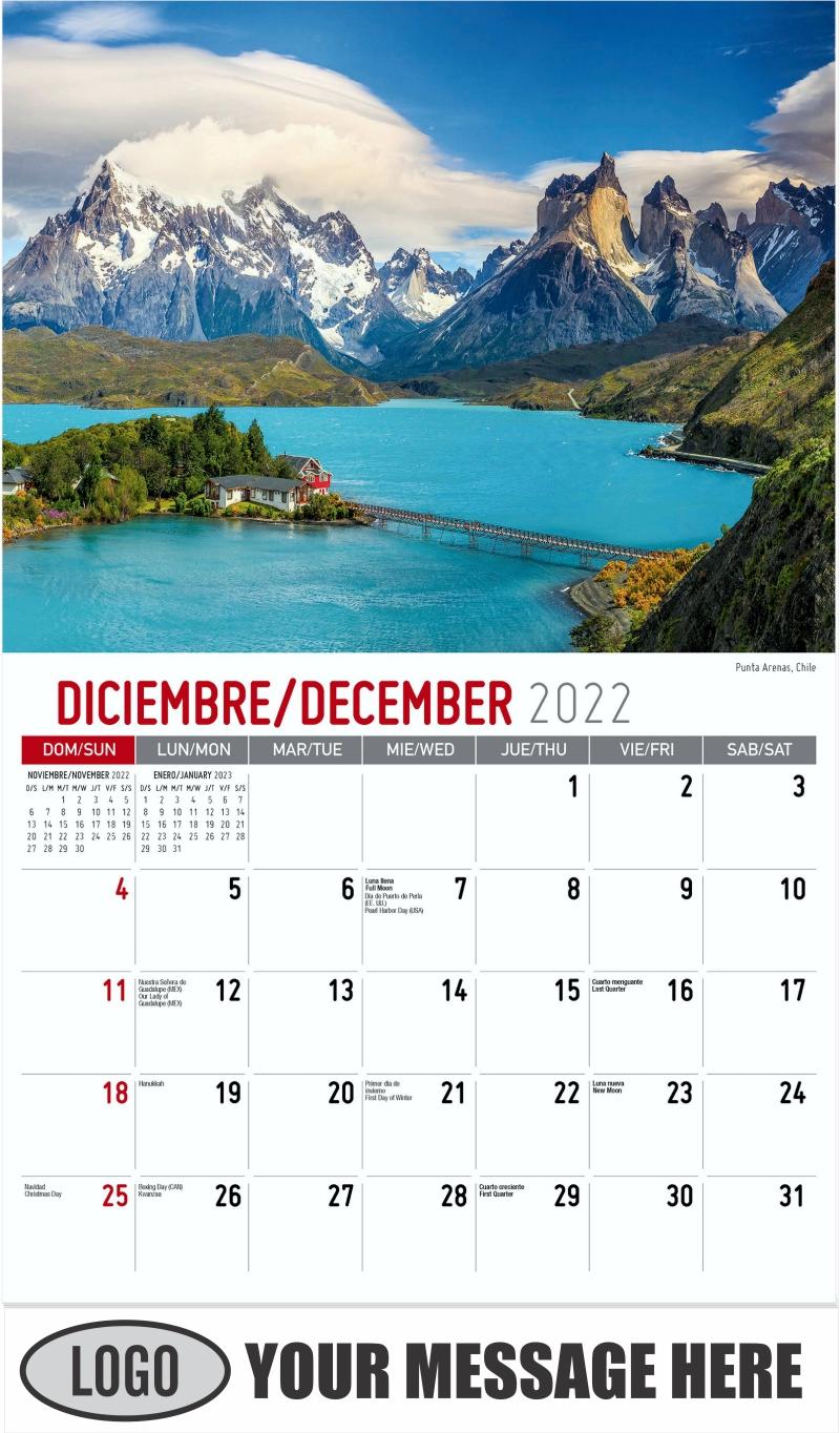 Punta Arenas, Chile - December 2022 - Beauty of Latin America 2022 Promotional Calendar