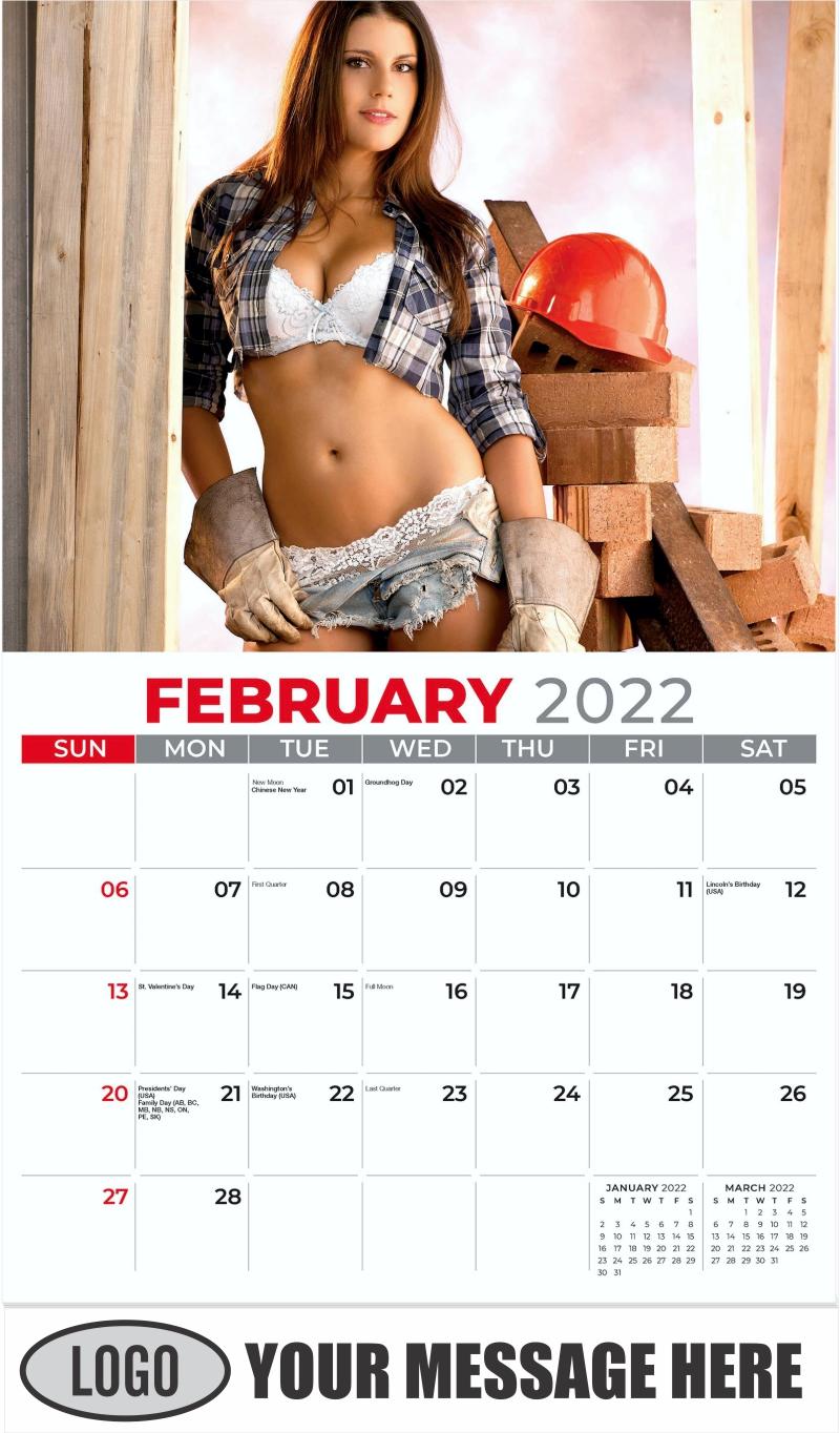 2022 Construction Girls Calendar - February - Building Babes 2022 Promotional Calendar