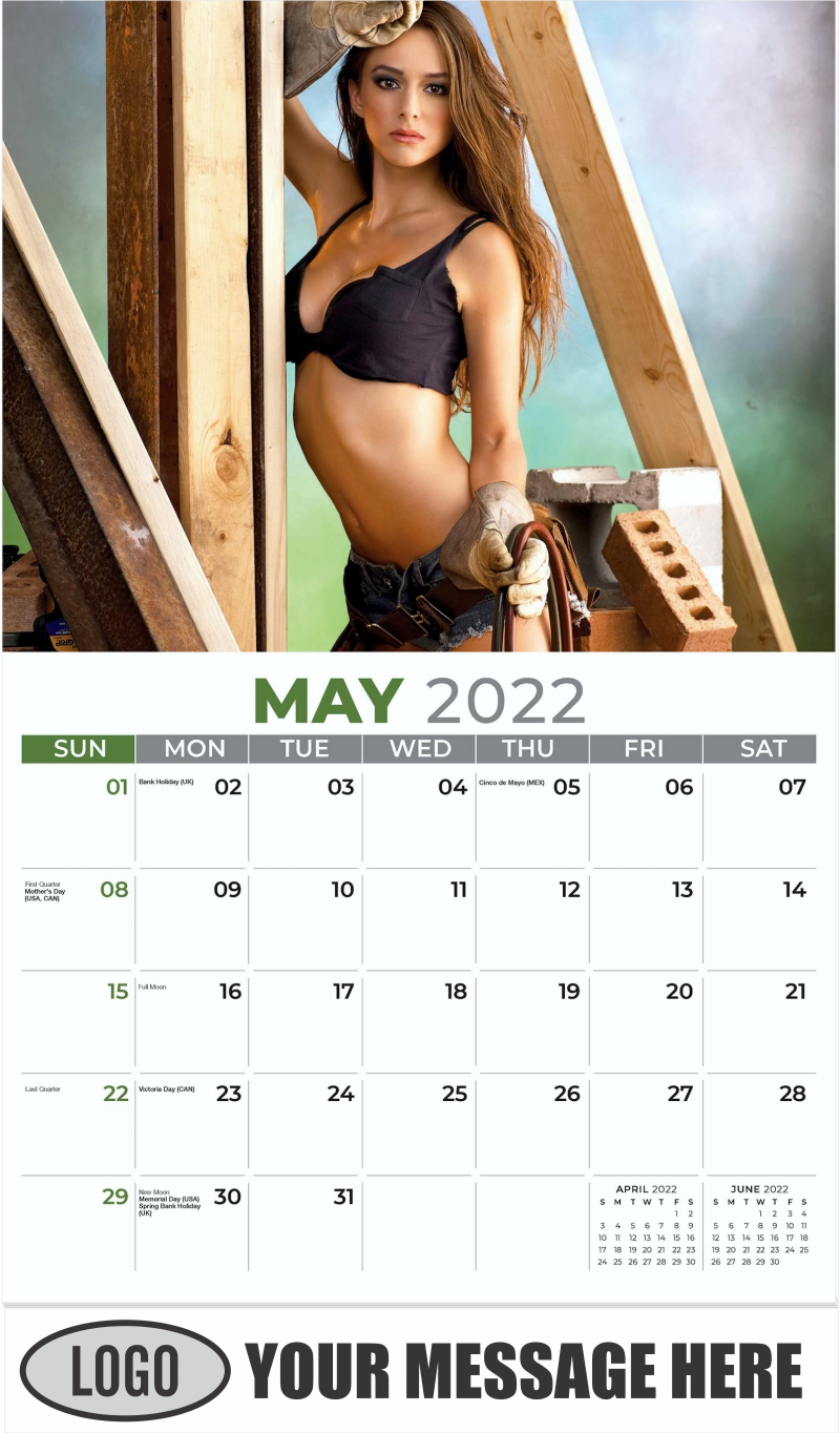 2022 Construction Girls Calendar - May - Building Babes 2022 Promotional Calendar