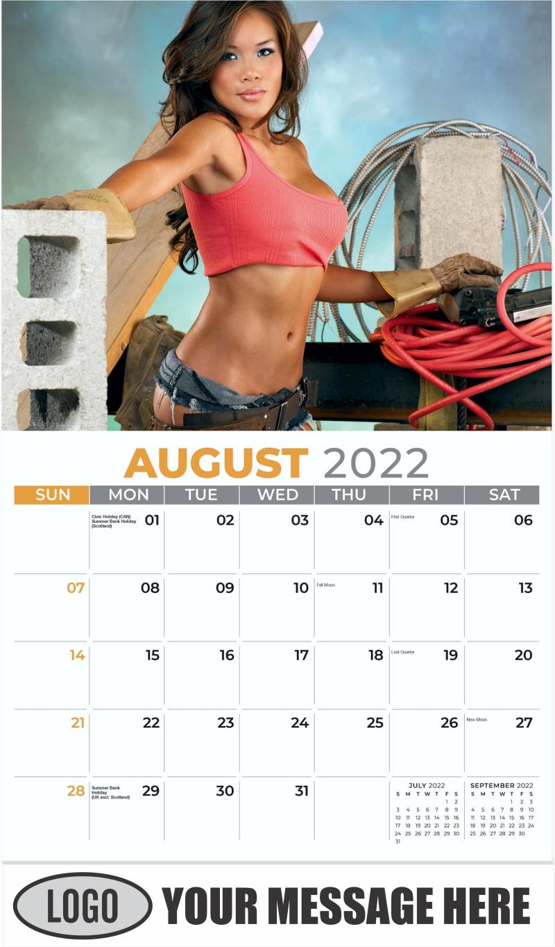 2022 Construction Girls Calendar - August - Building Babes 2022 Promotional Calendar
