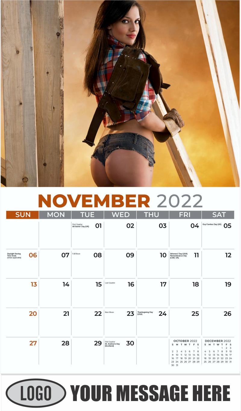 2022 Construction Girls Calendar - November - Building Babes 2022 Promotional Calendar