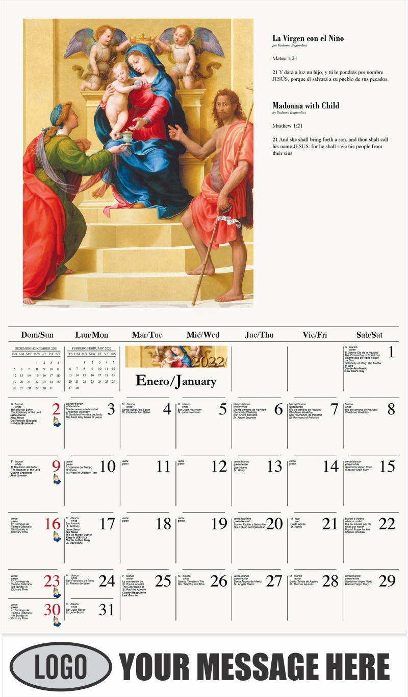 La Virgen con el Niño - January - Catholic Inspiration (Spanish-English bilingual) 2022 Promotional Calendar