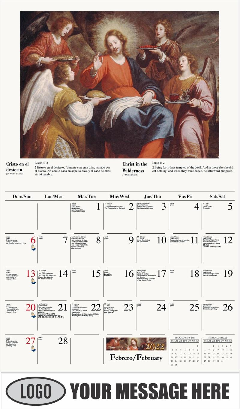 Cristo en el desierto - February - Catholic Inspiration (Spanish-English bilingual) 2022 Promotional Calendar