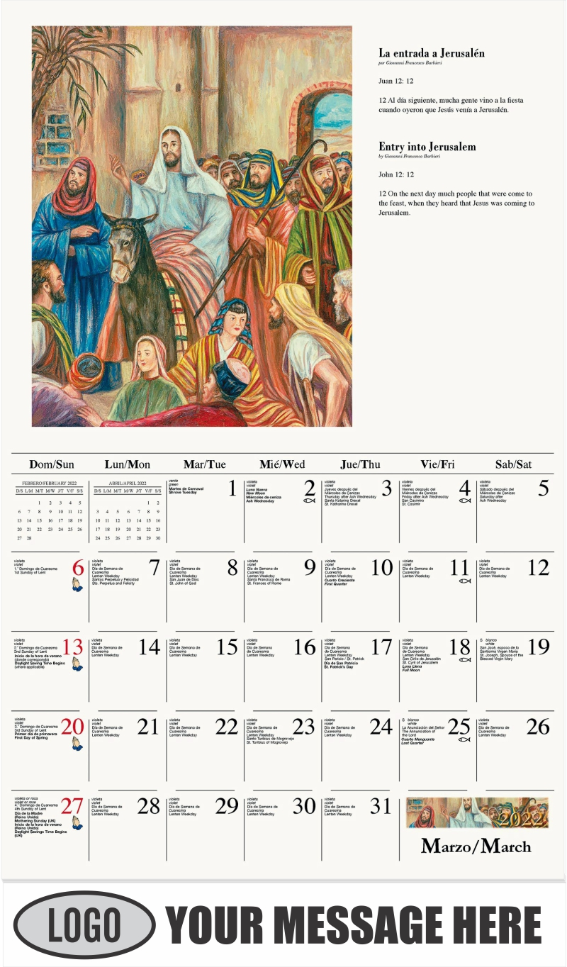 La entrada a Jerusalén - March - Catholic Inspiration (Spanish-English bilingual) 2022 Promotional Calendar