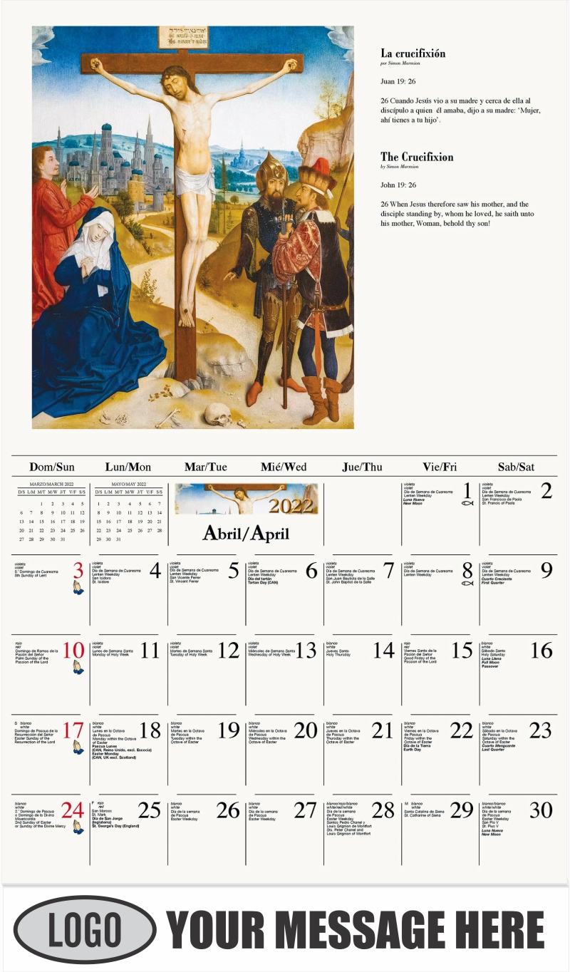 La crucifixión - April - Catholic Inspiration (Spanish-English bilingual) 2022 Promotional Calendar