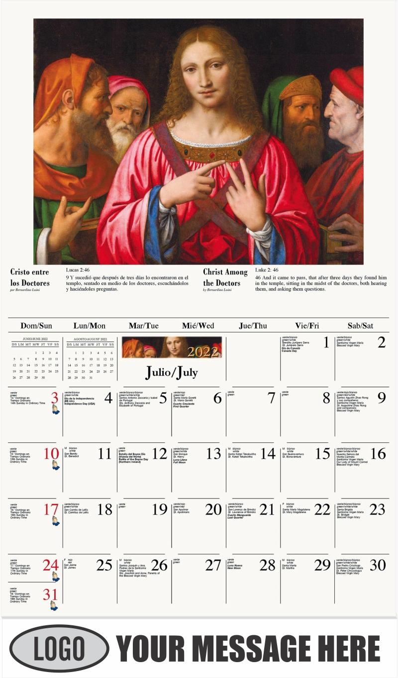 Cristo entre los doctores - July - Catholic Inspiration (Spanish-English bilingual) 2022 Promotional Calendar