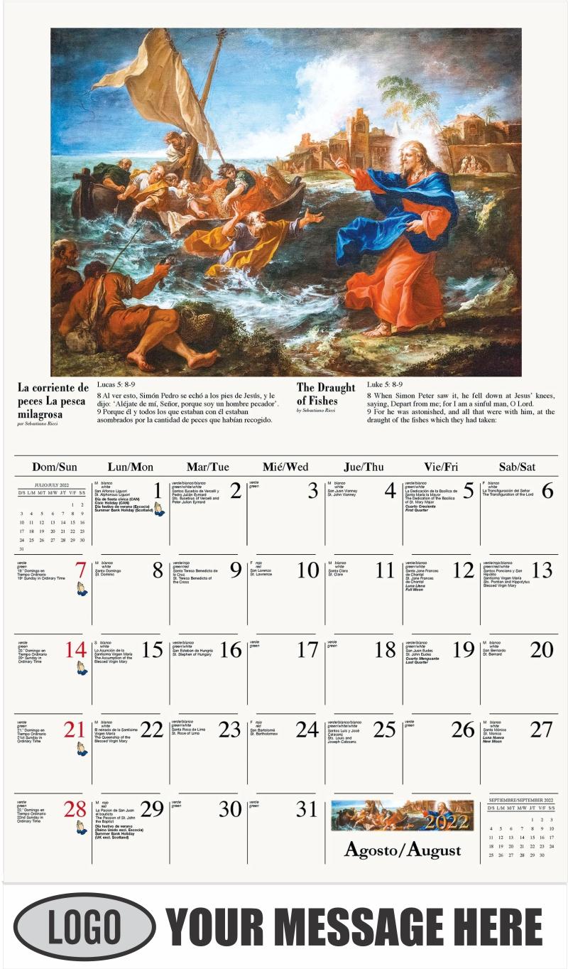 La corriente de peces (La pesca milagrosa) - August - Catholic Inspiration (Spanish-English bilingual) 2022 Promotional Calendar
