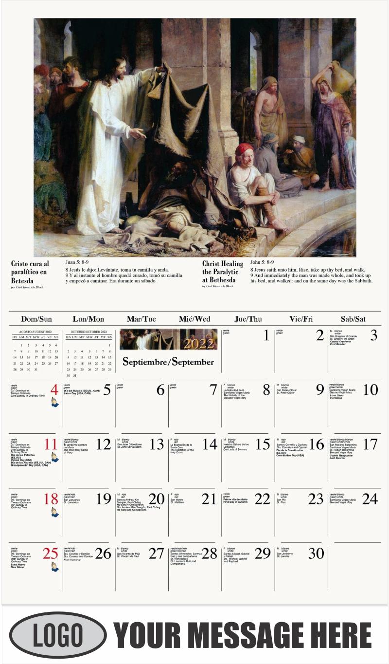 Cristo cura al paralítico en Betesda - September - Catholic Inspiration (Spanish-English bilingual) 2022 Promotional Calendar