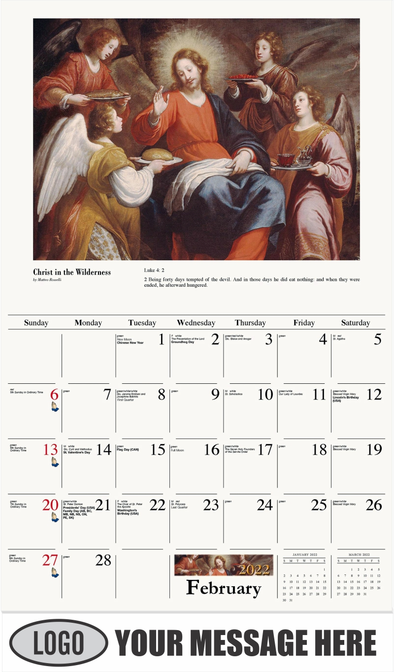 Angels ministering to Christ in the Wilderness - February - Catholic Inspiration 2022 Promotional Calendar