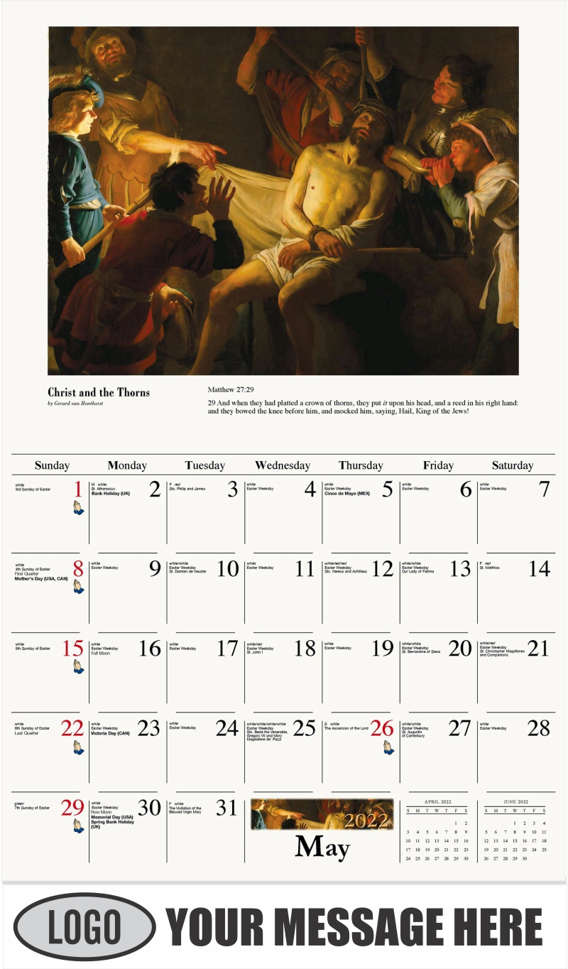 Christ Crowned with Thorns - May - Catholic Inspiration 2022 Promotional Calendar