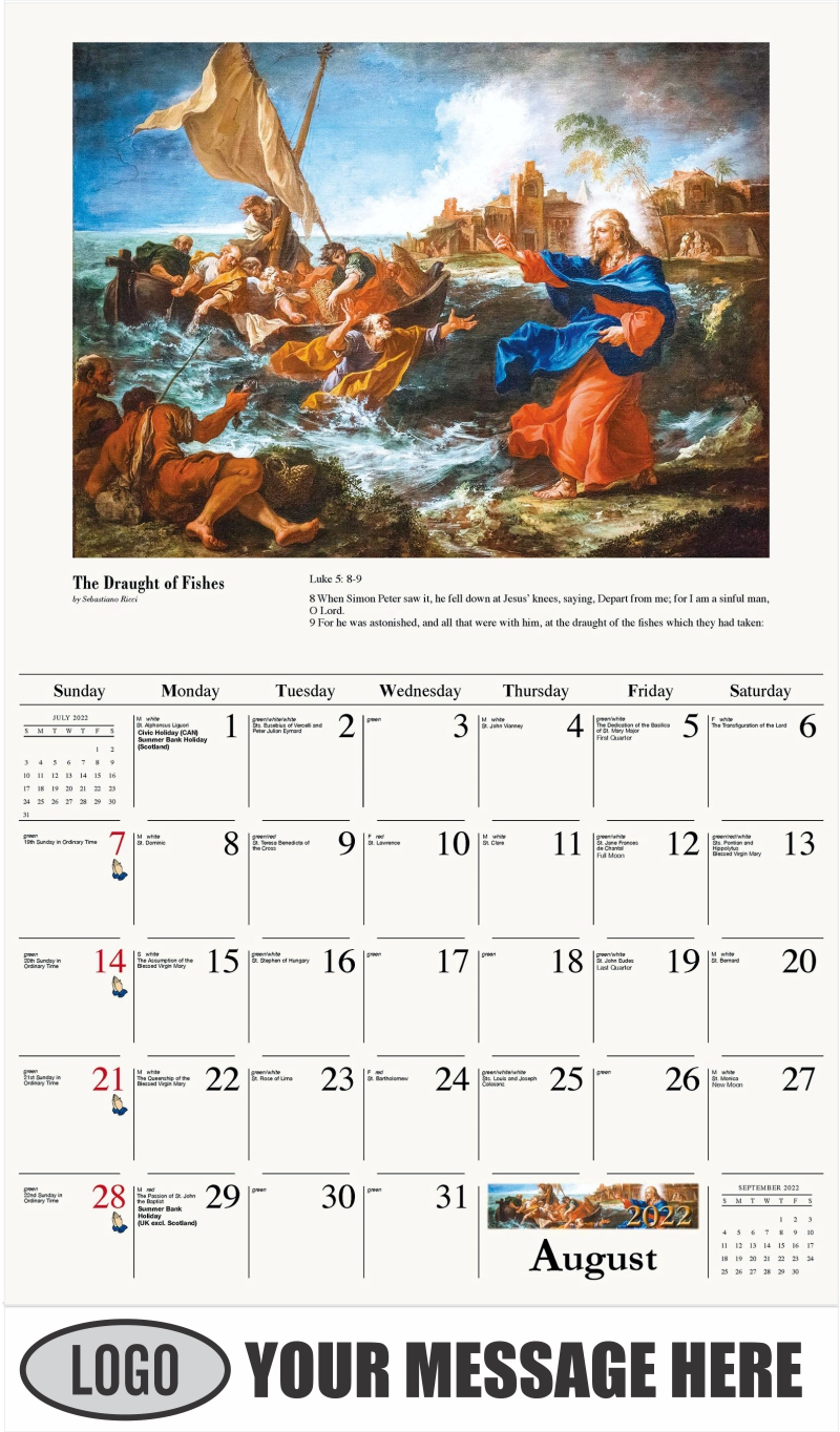 The Miraculous Draught of Fishes - August - Catholic Inspiration 2022 Promotional Calendar