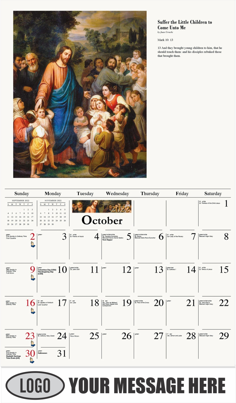 Suffer the Little Children to Come Unto Me - October - Catholic Inspiration 2022 Promotional Calendar