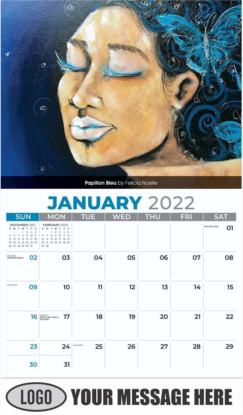 Papillon Bleu by Felicia Noelle - January - Celebration of African American Art 2022 Promotional Calendar