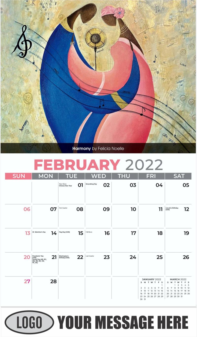 Harmony by Felicia Noelle - February - Celebration of African American Art 2022 Promotional Calendar