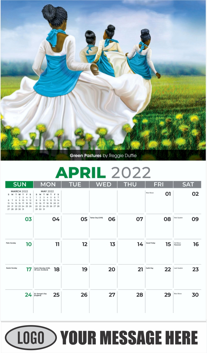 Green Pastures by Reggie Duffie - April - Celebration of African American Art 2022 Promotional Calendar